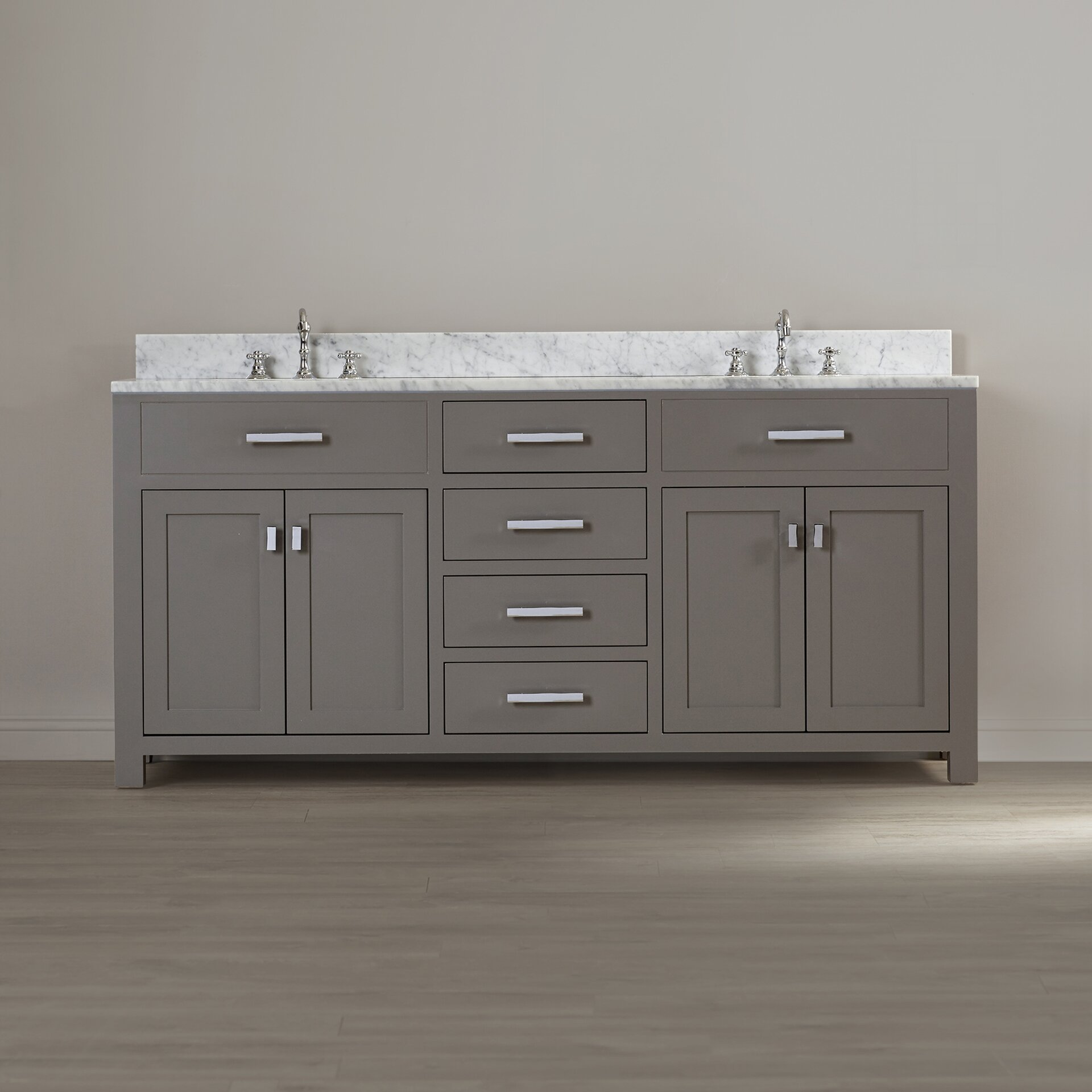 Dcor design creighton 72 double sink bathroom vanity set for Bathroom 72 double vanity