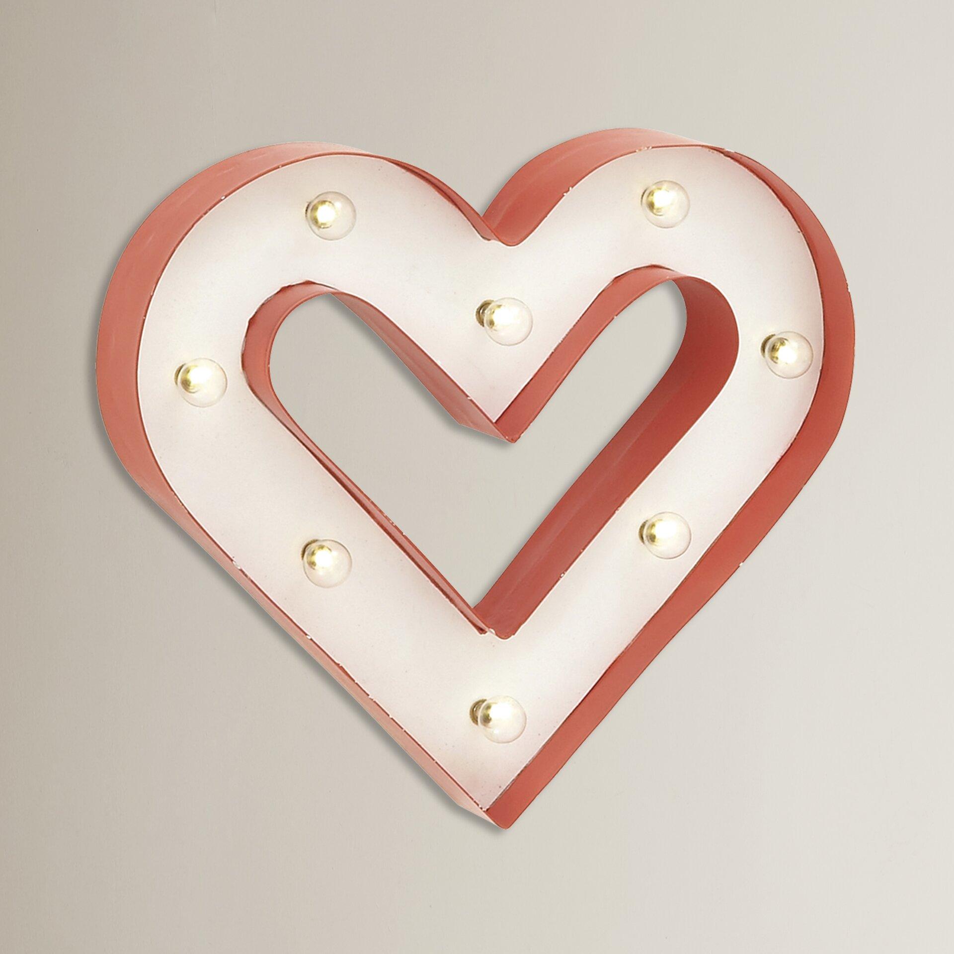 Wall Decor Led Heart : Mercury row mavek classy led heart wall d?cor reviews