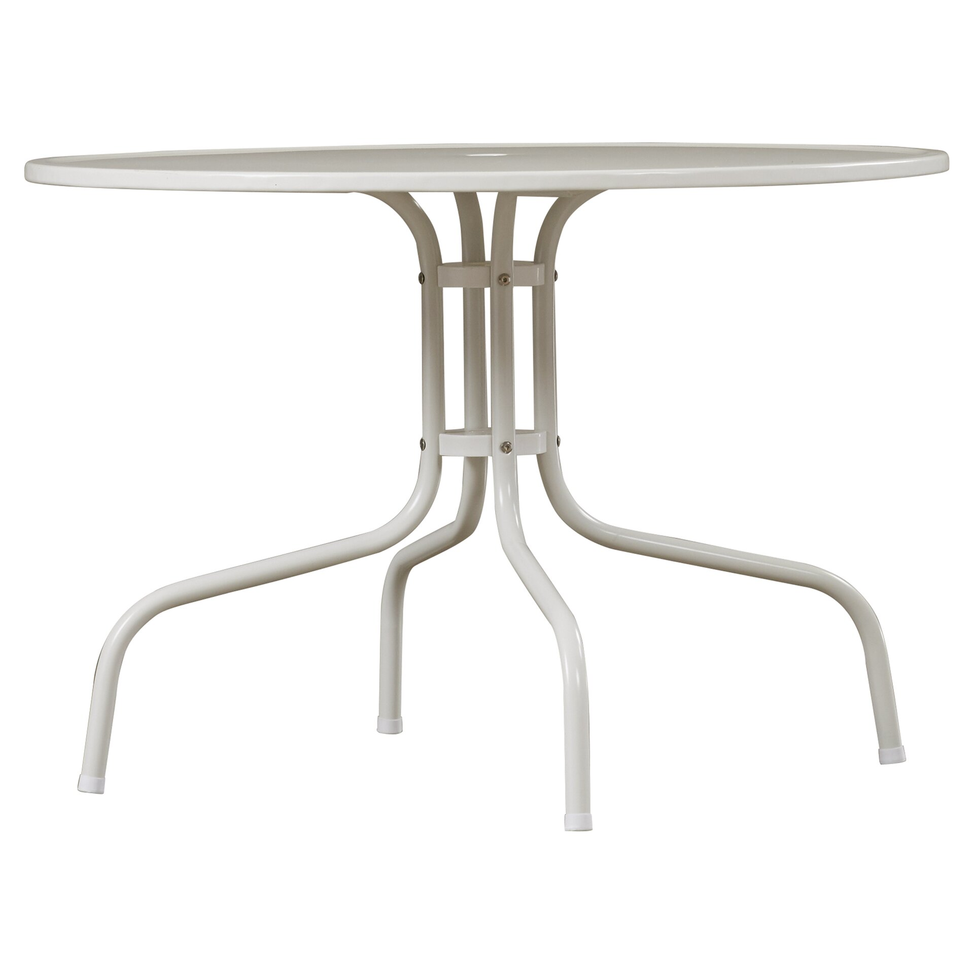 Mercury row timothea metal dining table in white reviews - White metal dining table ...