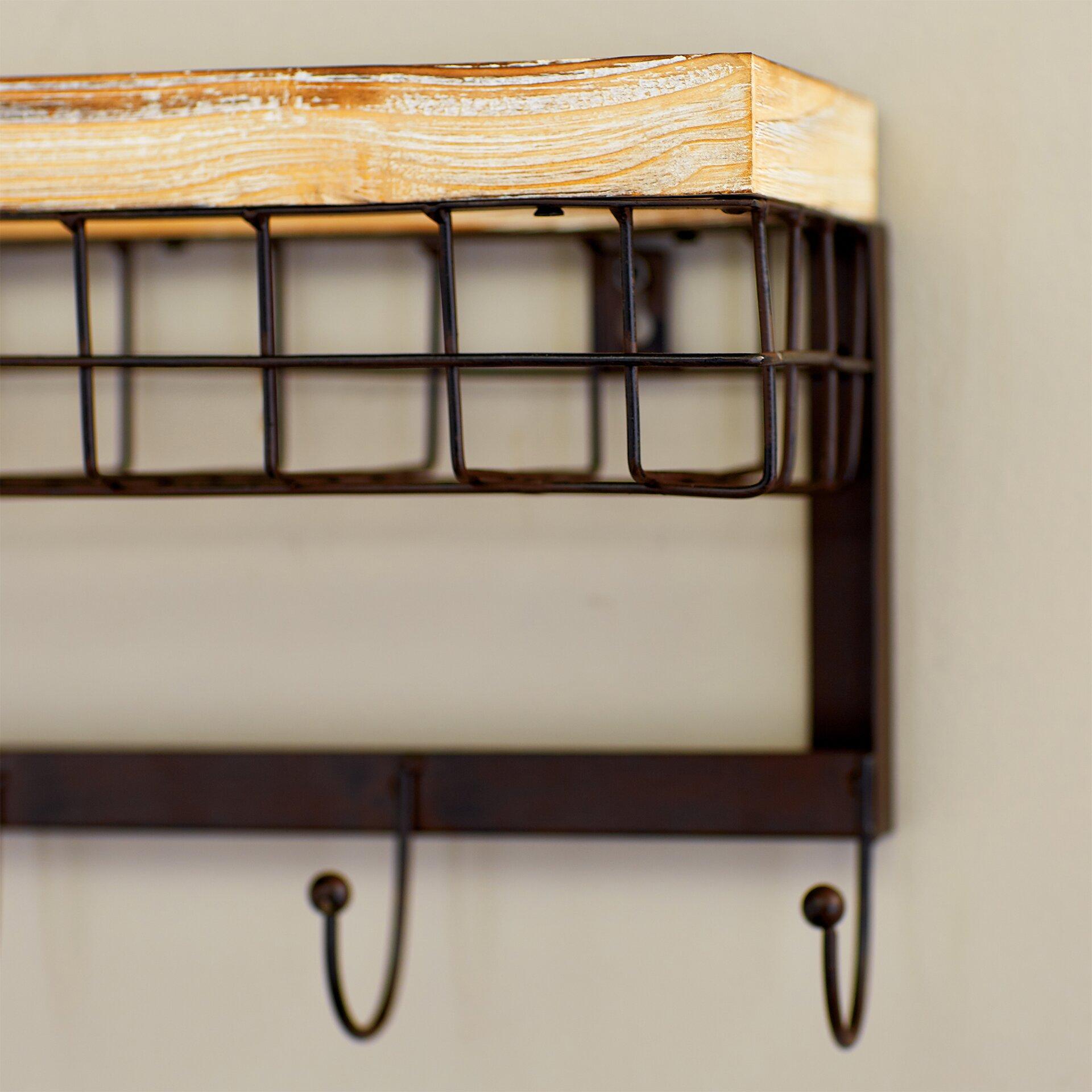 Mercury Row Modern 4 Hook Wall Rack With Basket & Reviews