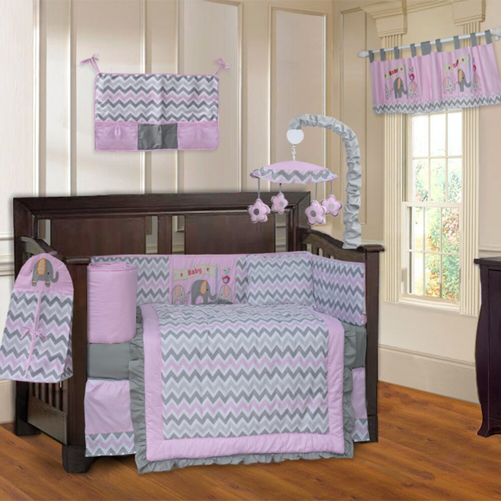 Babyfad Elephant Zigzag 10 Piece Crib Bedding Set