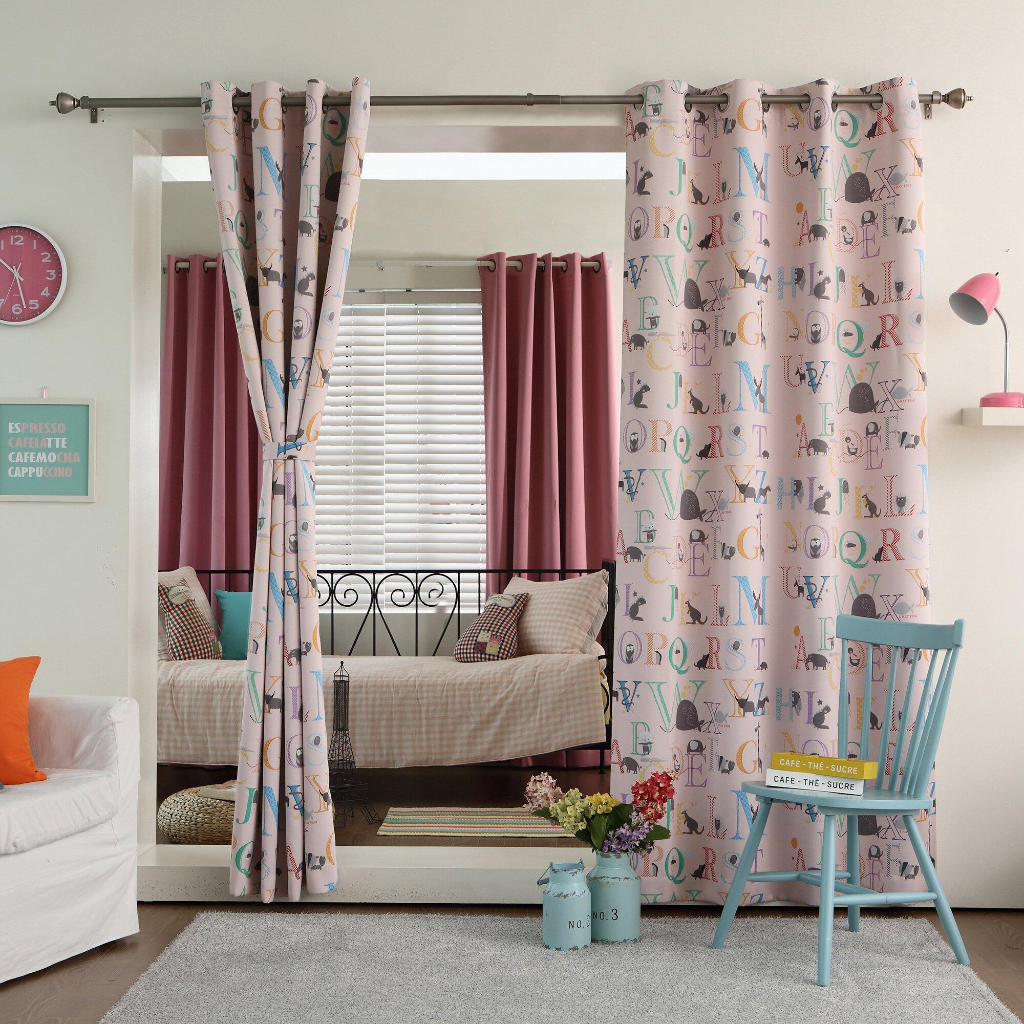 best home fashion inc alphabet printed room darkening curtain panels reviews wayfair