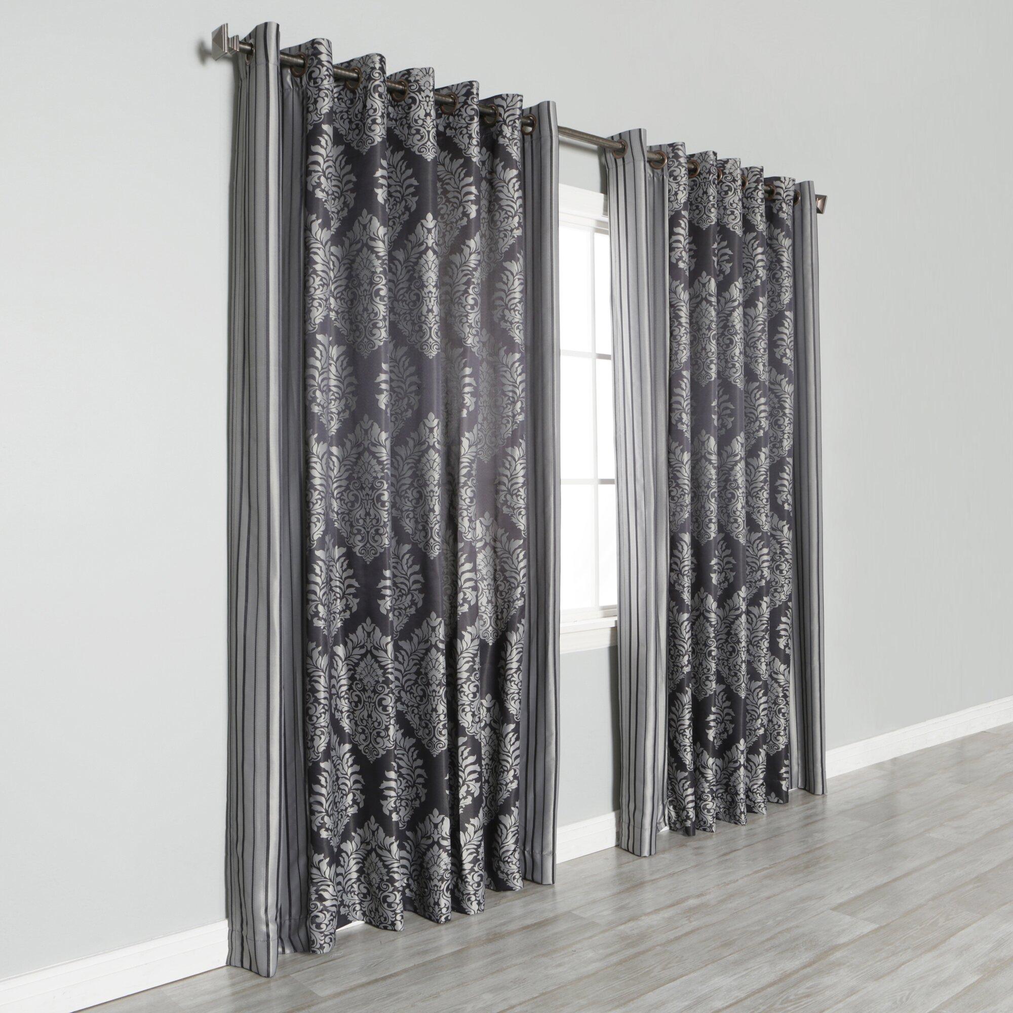 best home fashion inc wide width damask jacquard grommet. Black Bedroom Furniture Sets. Home Design Ideas