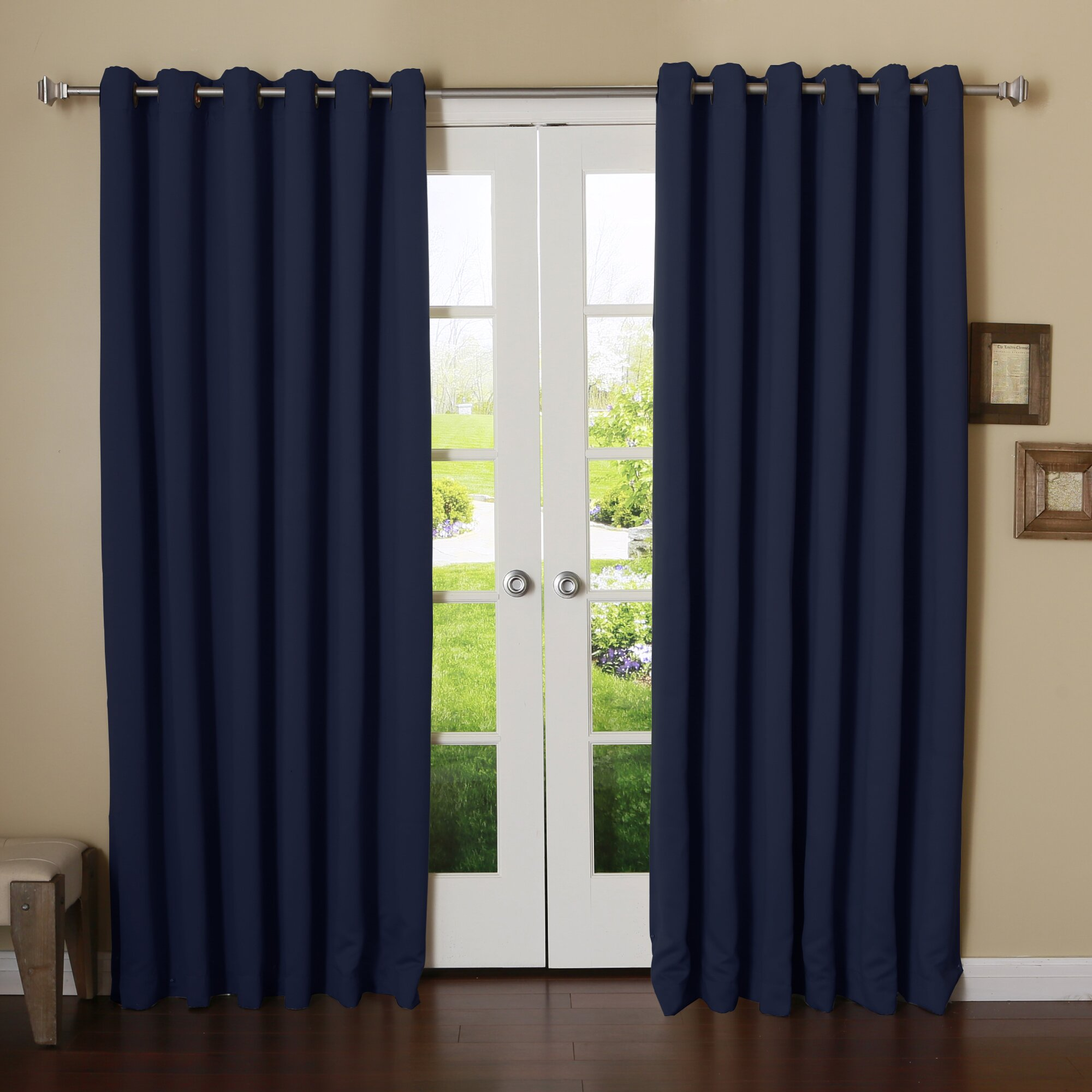 Double Layer Curtain Rod Gray Blackout Curtains