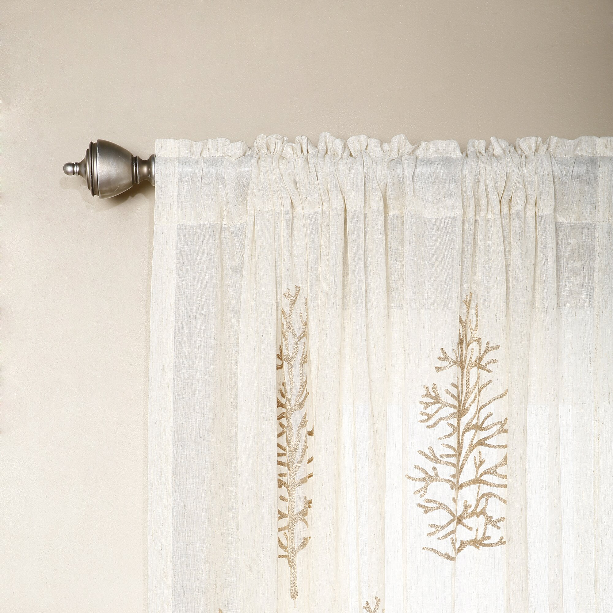 Best Home Fashion Inc Tree Embroidered Sheer Rod Pocket Curtain Panels Reviews Wayfair
