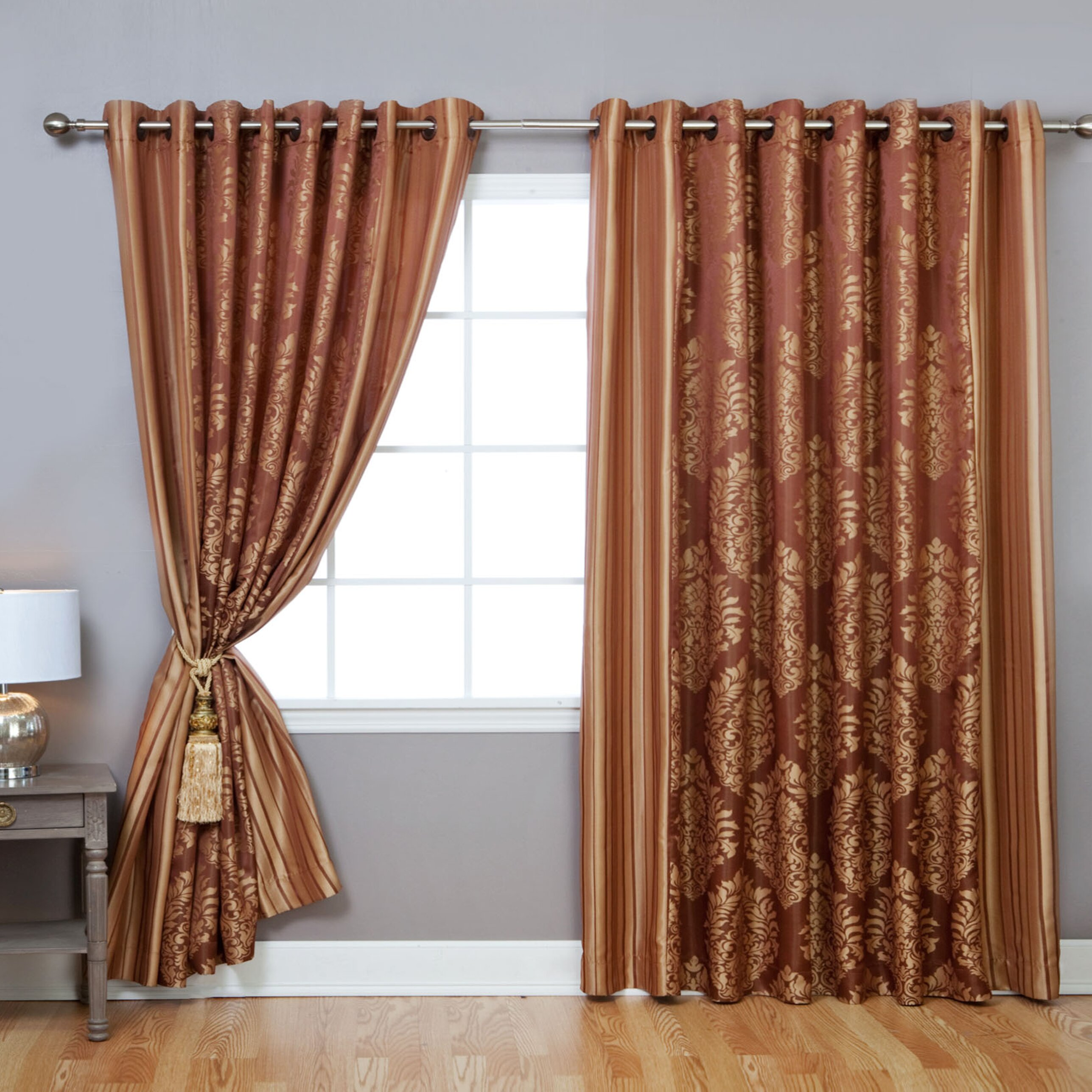 Best home fashion inc wide width damask jacquard grommet for Home drapes and curtains
