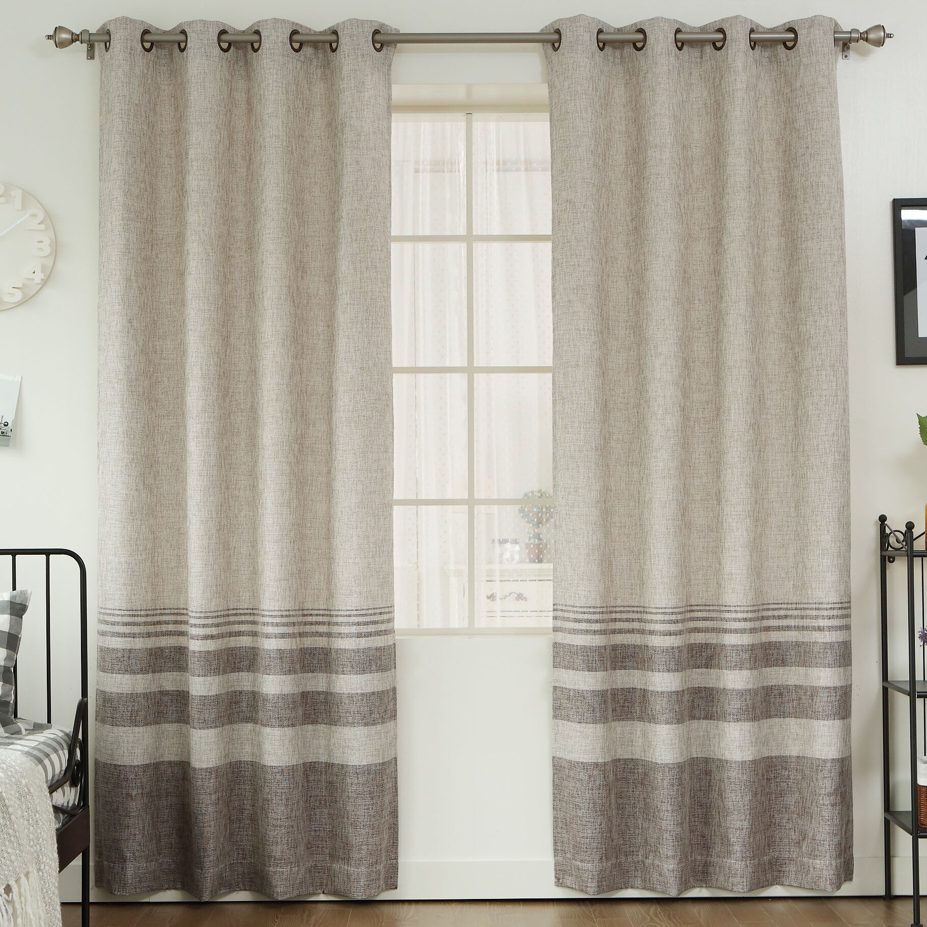 Best Home Fashion Inc Striped Shimmer Grommet Top