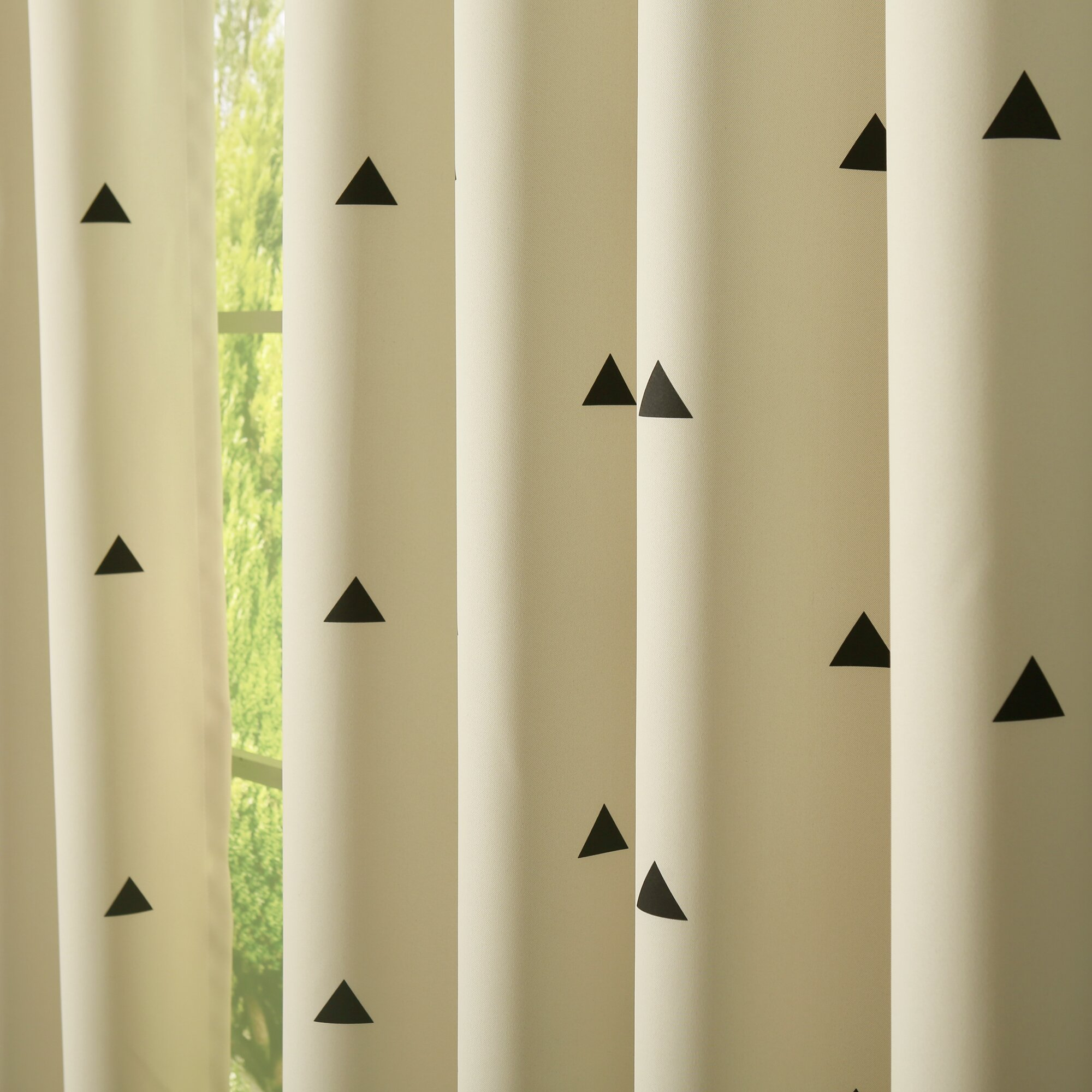Best home fashion inc small triangle print room Dark curtains small room