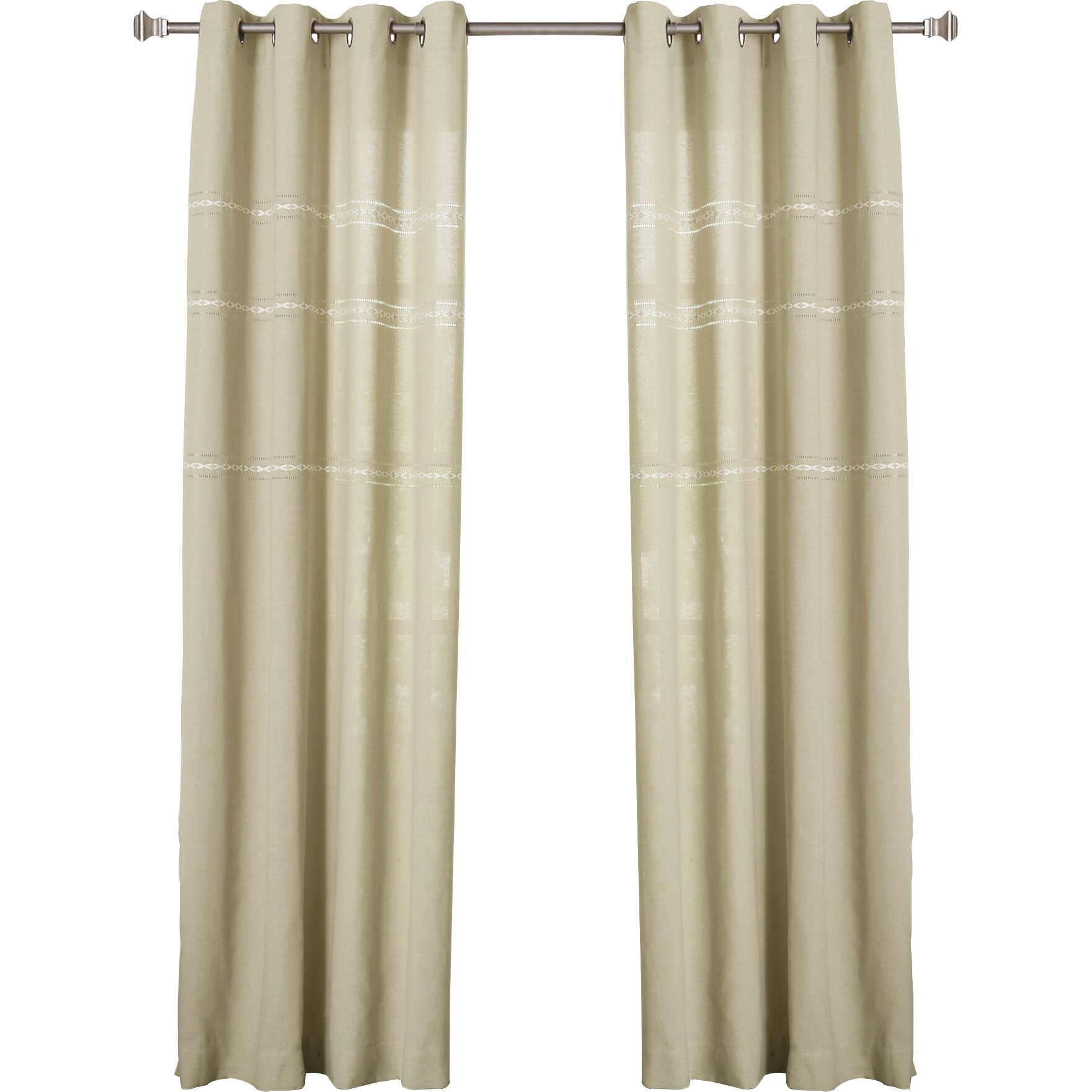 Best Home Fashion Inc Embroidered Grommet Top Curtain