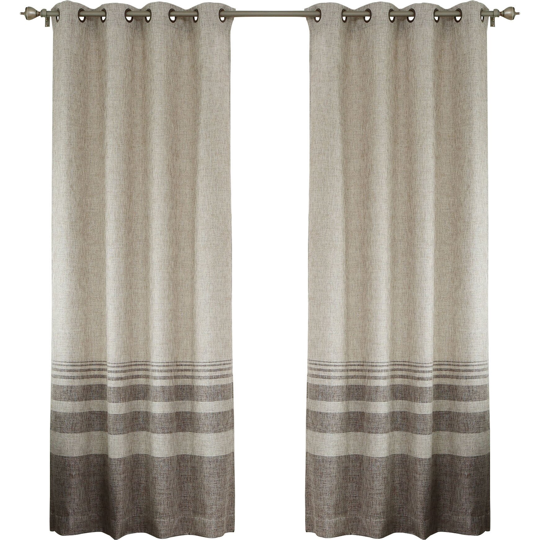 Best Home Fashion Inc Striped Shimmer Grommet Top Curtain Panels Reviews Wayfair