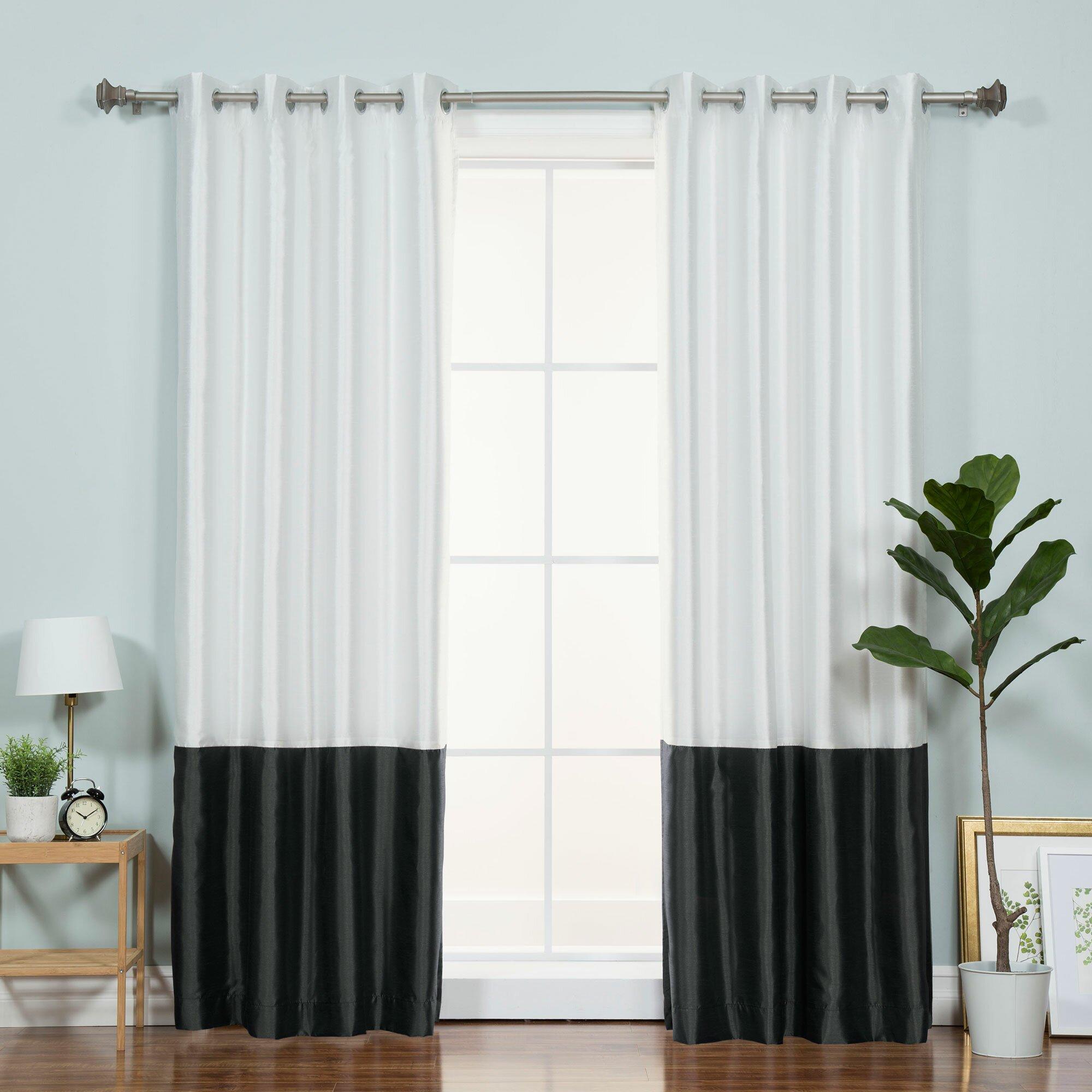 best home fashion inc colorblock single curtain panel. Black Bedroom Furniture Sets. Home Design Ideas