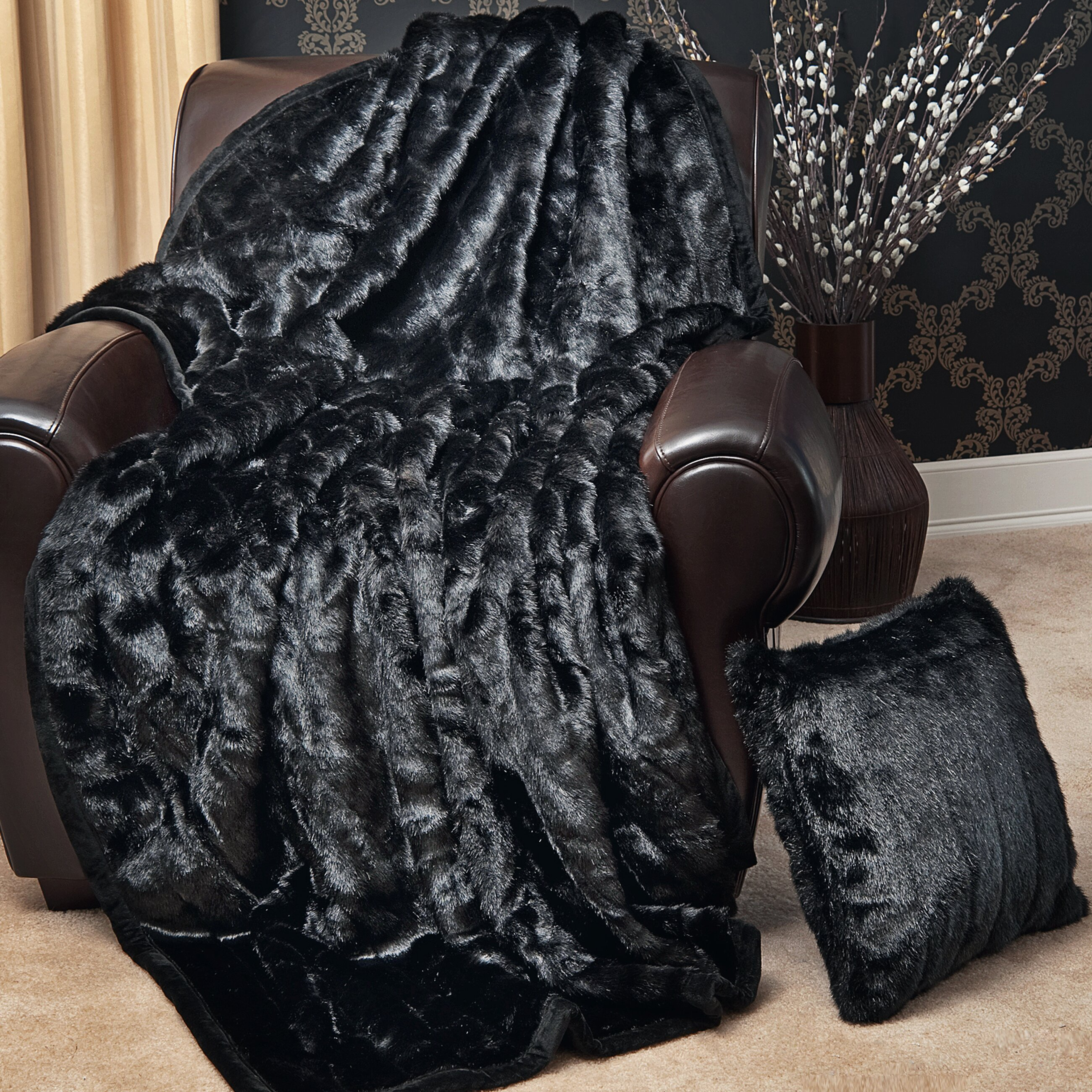 best home fashion inc faux fur lounge throw blanket reviews wayfair. Black Bedroom Furniture Sets. Home Design Ideas