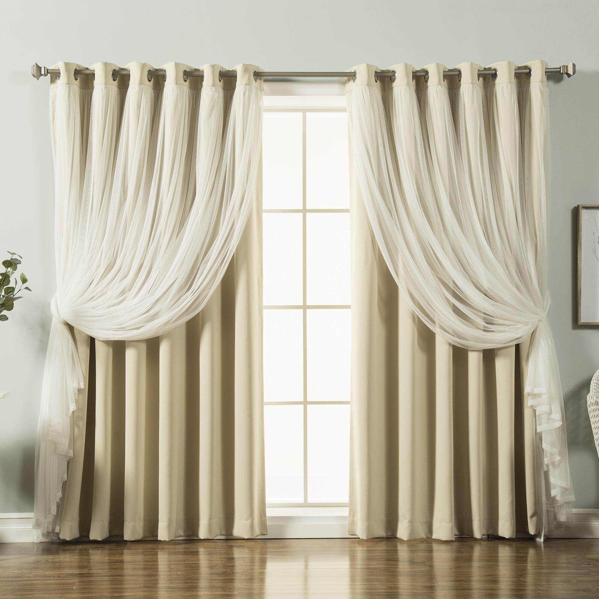 best home fashion inc lace tulle overlay blackout. Black Bedroom Furniture Sets. Home Design Ideas