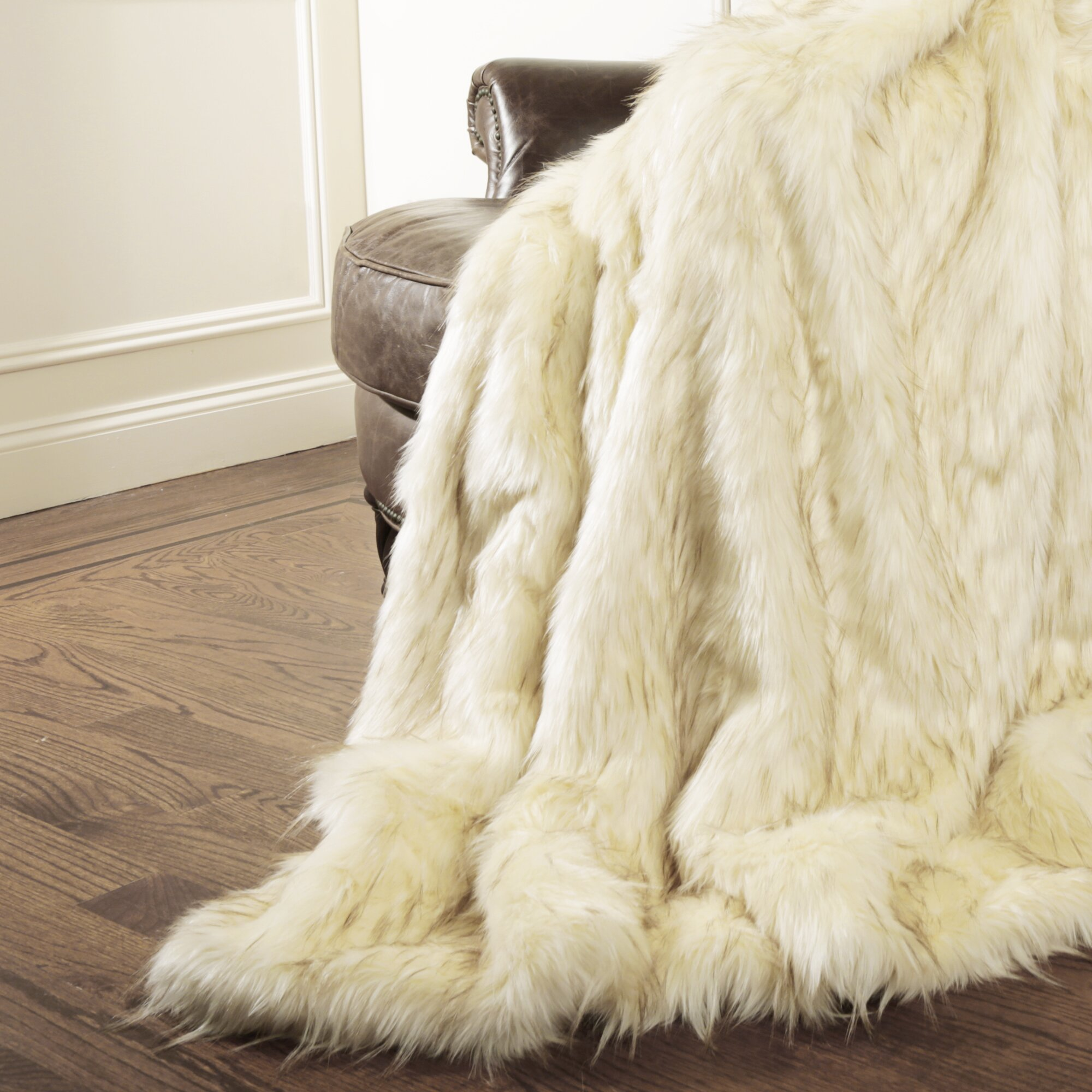 wild mannered iced fox faux fur throw blanket reviews wayfair. Black Bedroom Furniture Sets. Home Design Ideas