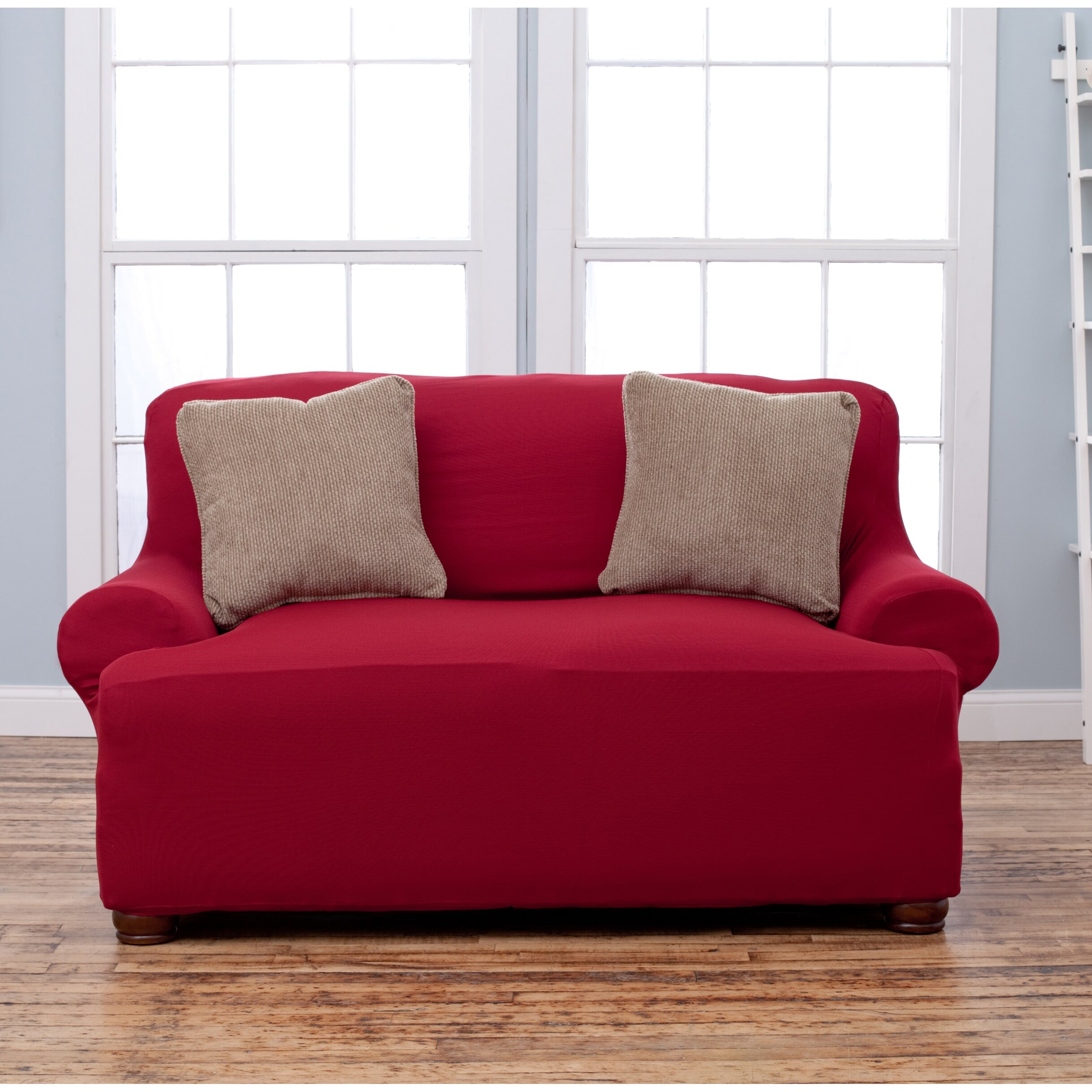 Home fashion design lucia t cushion loveseat slipcover for Slip sofa covers home style