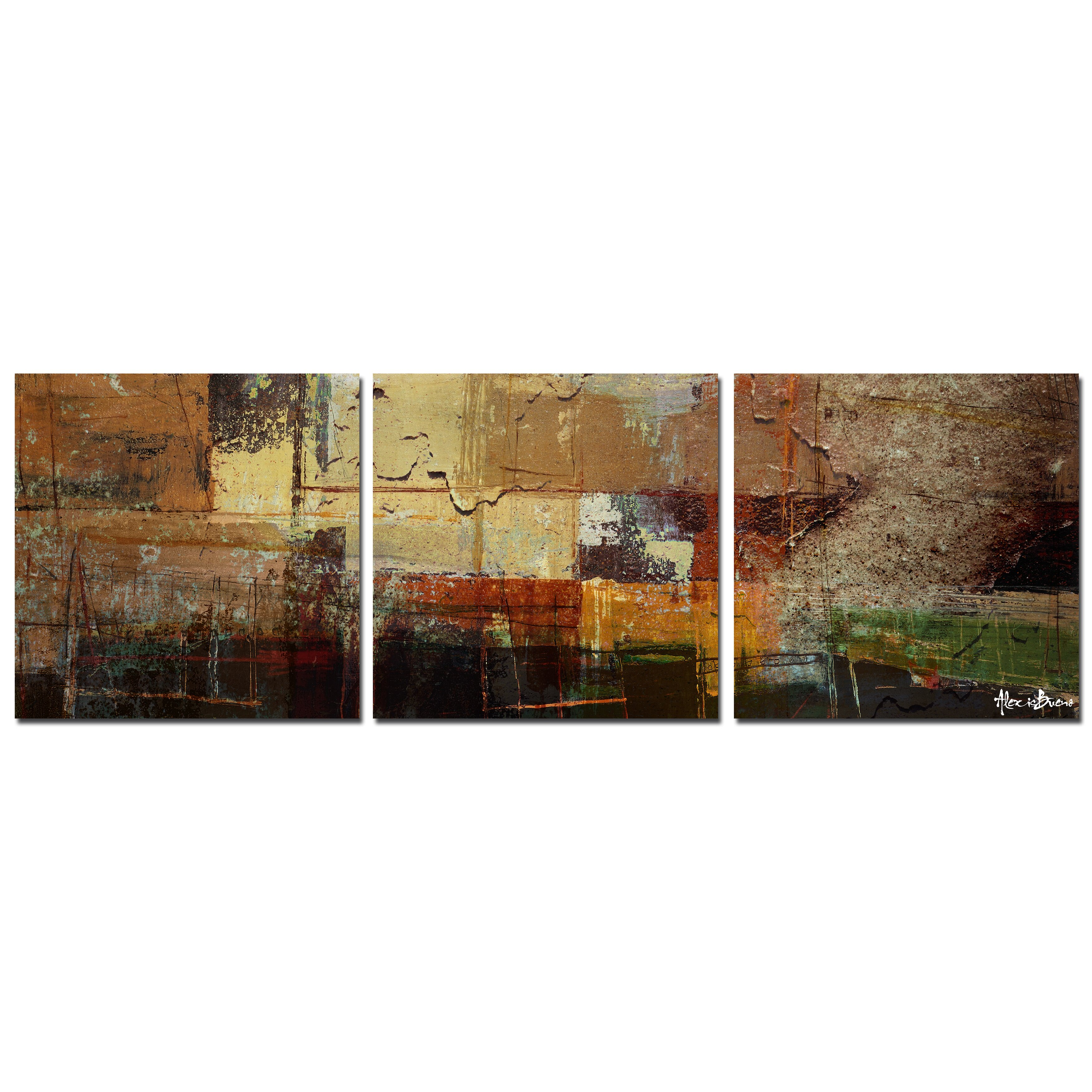 Ready2hangart oversized abstract 3 piece print of painting for Set of three canvas paintings