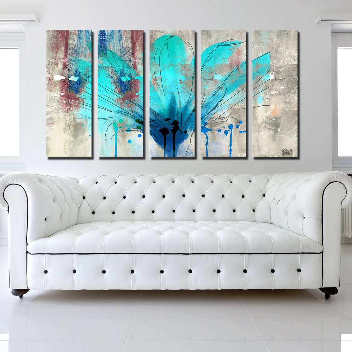 ready2hangart painted petals lii by ready2hangart 5 piece graphic art on canvas set reviews. Black Bedroom Furniture Sets. Home Design Ideas