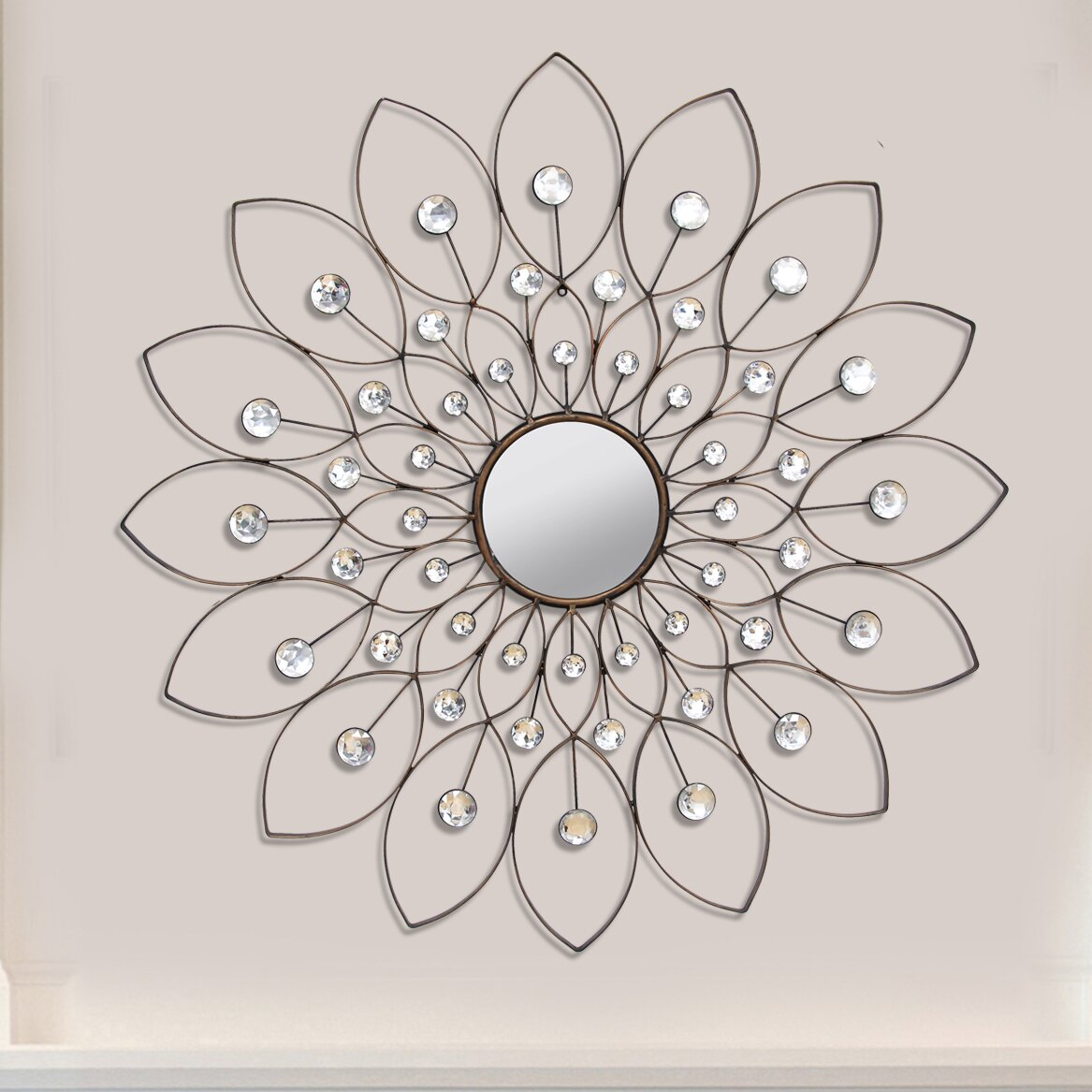 Flower wall mirror