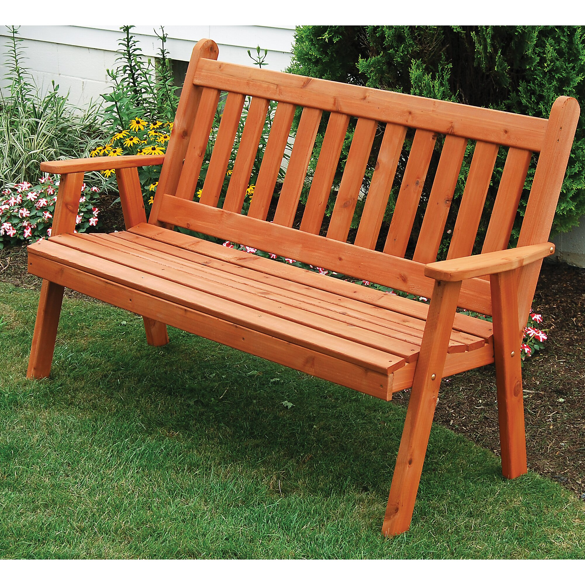A L Furniture English Wood Garden Bench Wayfair