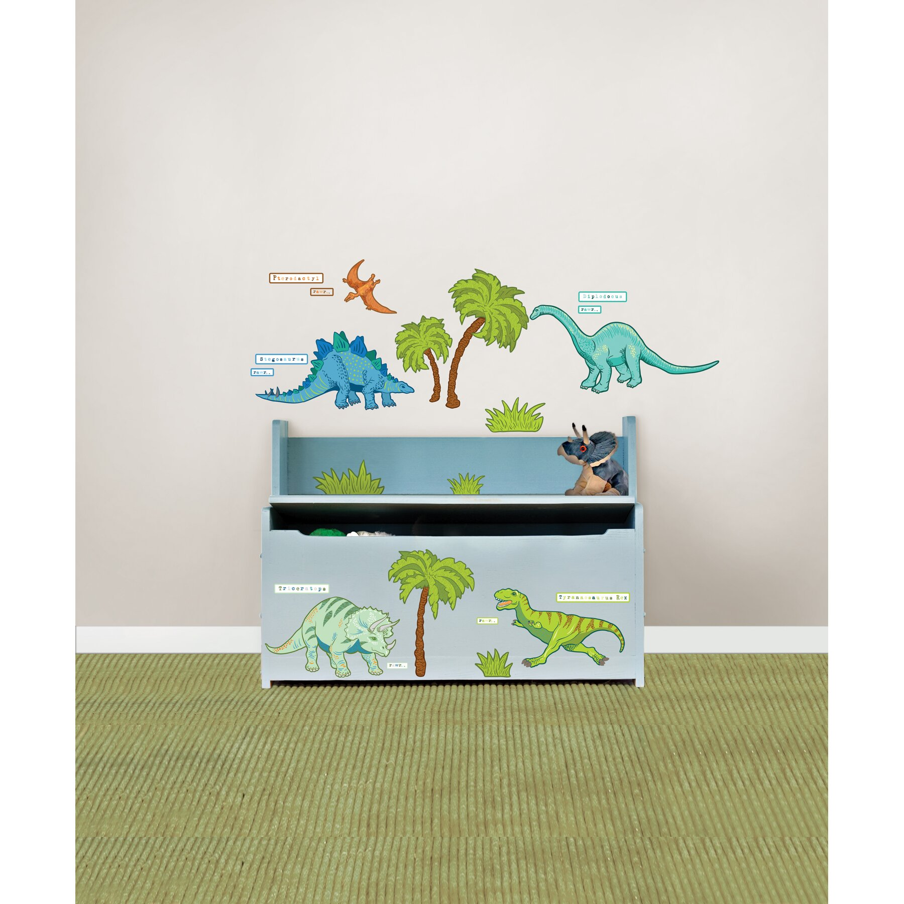 Wallpops kids dinosaur expedition kids wall sticker kit for Dinosaur mural kit
