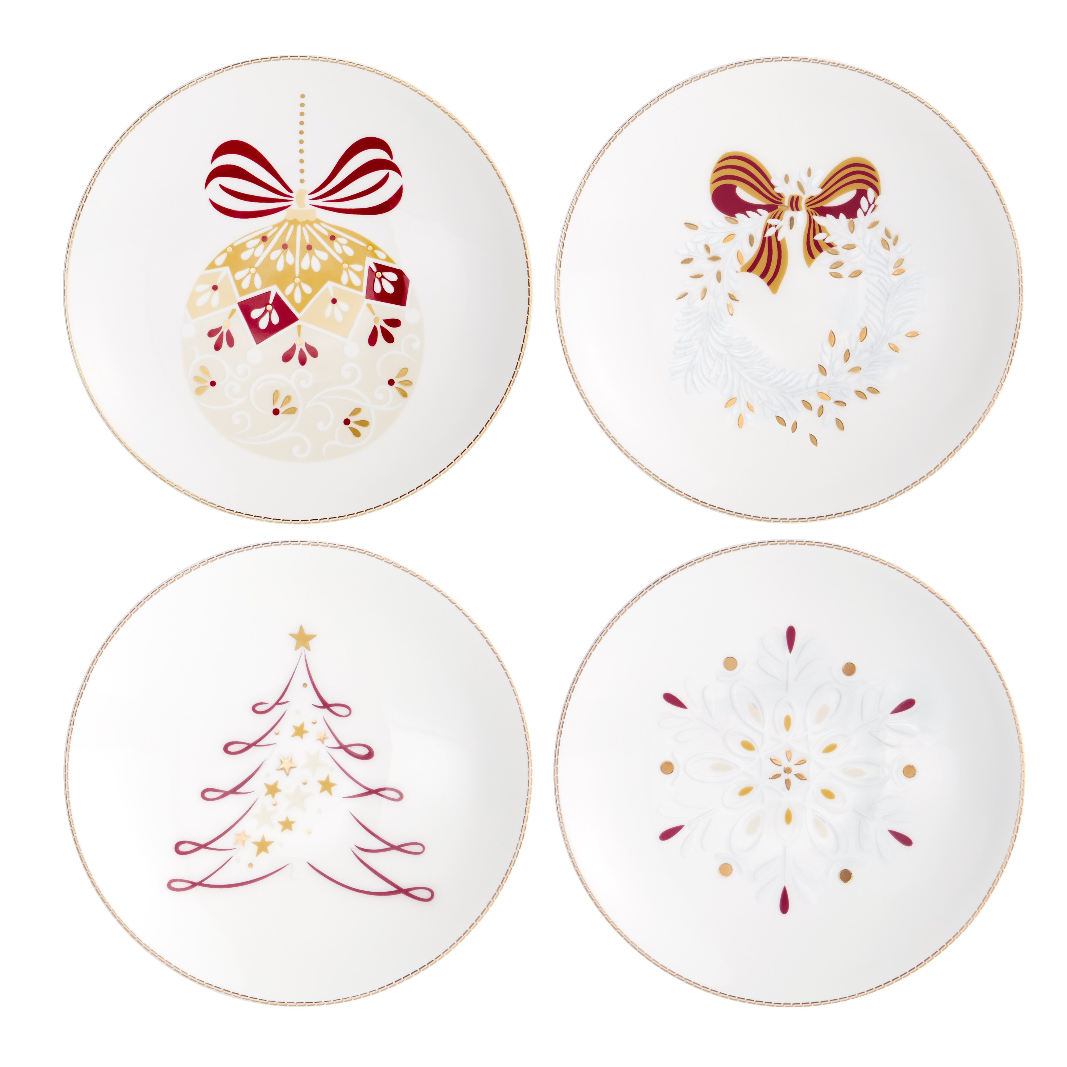 Auratic chantilly 6 christmas canape plate 4 piece set for Christmas canape plates