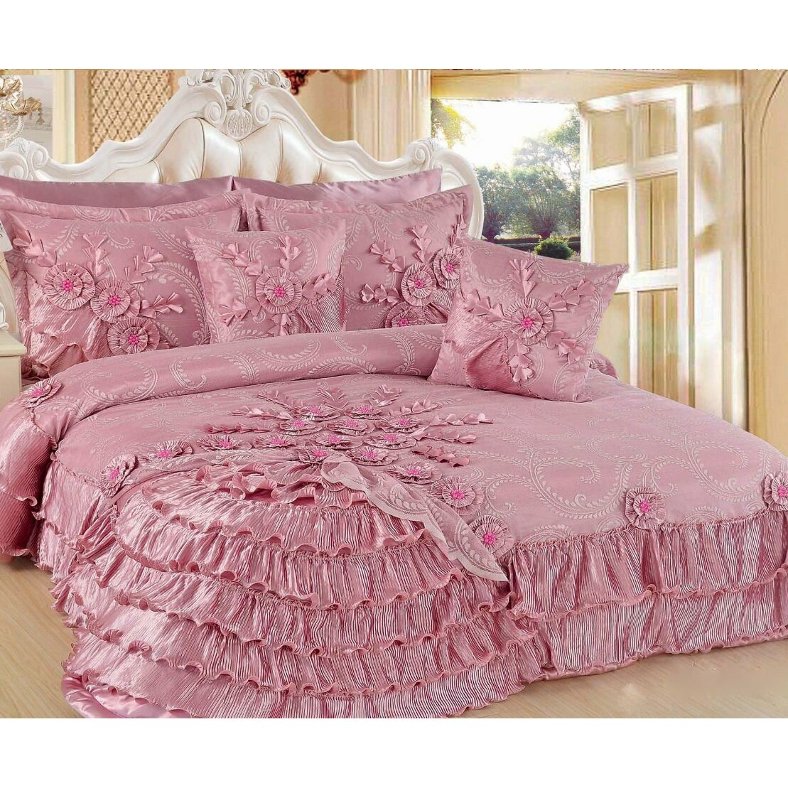 Dada Bedding Pink Blooming 5 Piece King Quilt Set