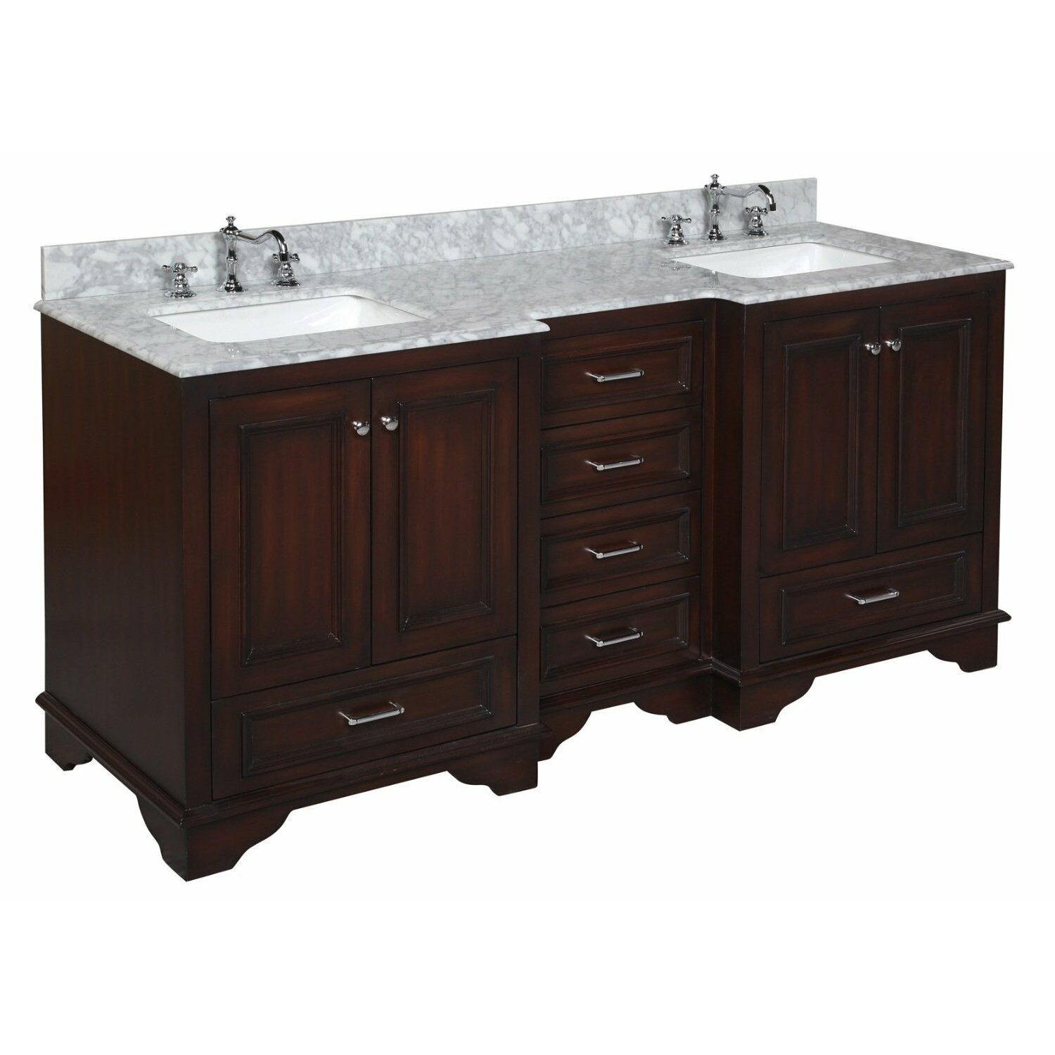 Kbc nantucket 72 double bathroom vanity set reviews for Bath and vanity set
