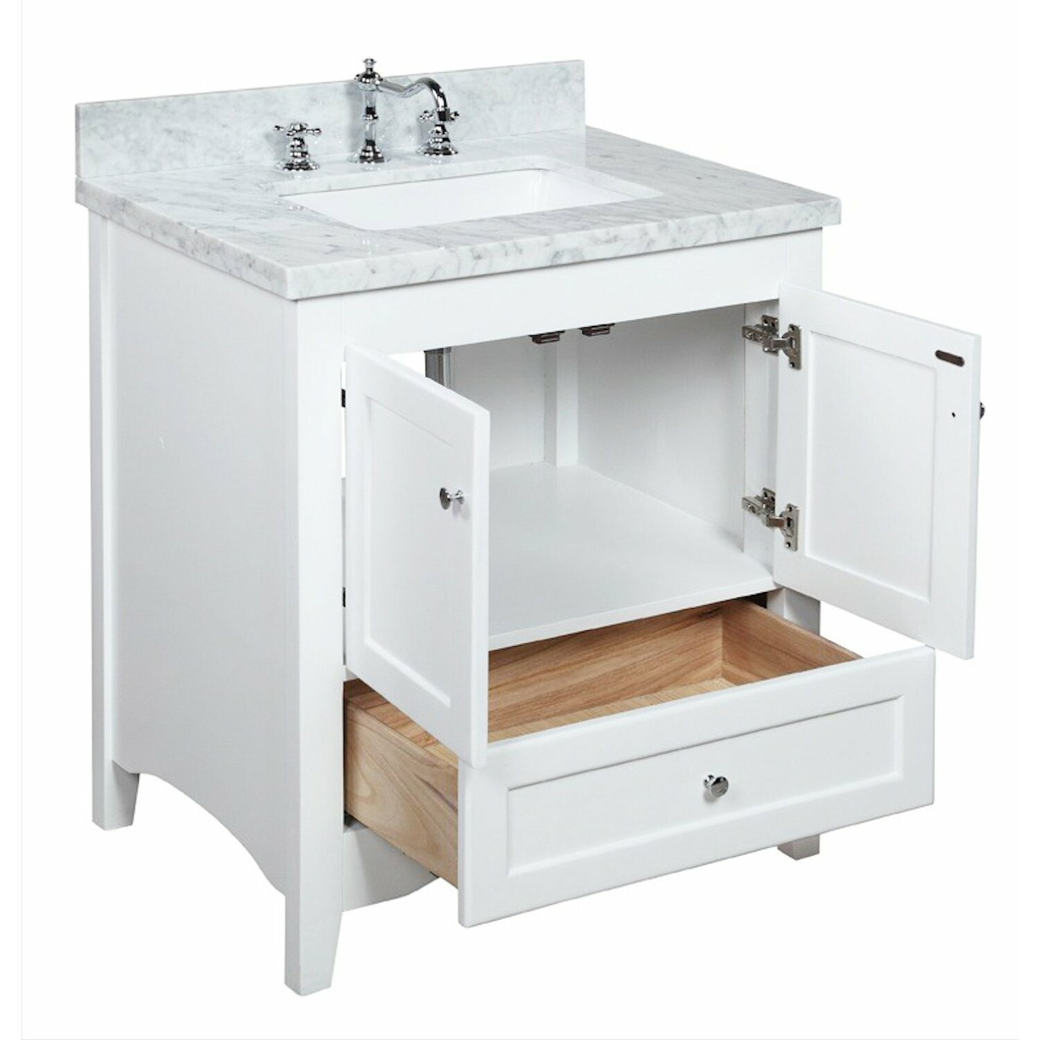Kbc abbey 30 single bathroom vanity set reviews wayfair for Restroom vanity