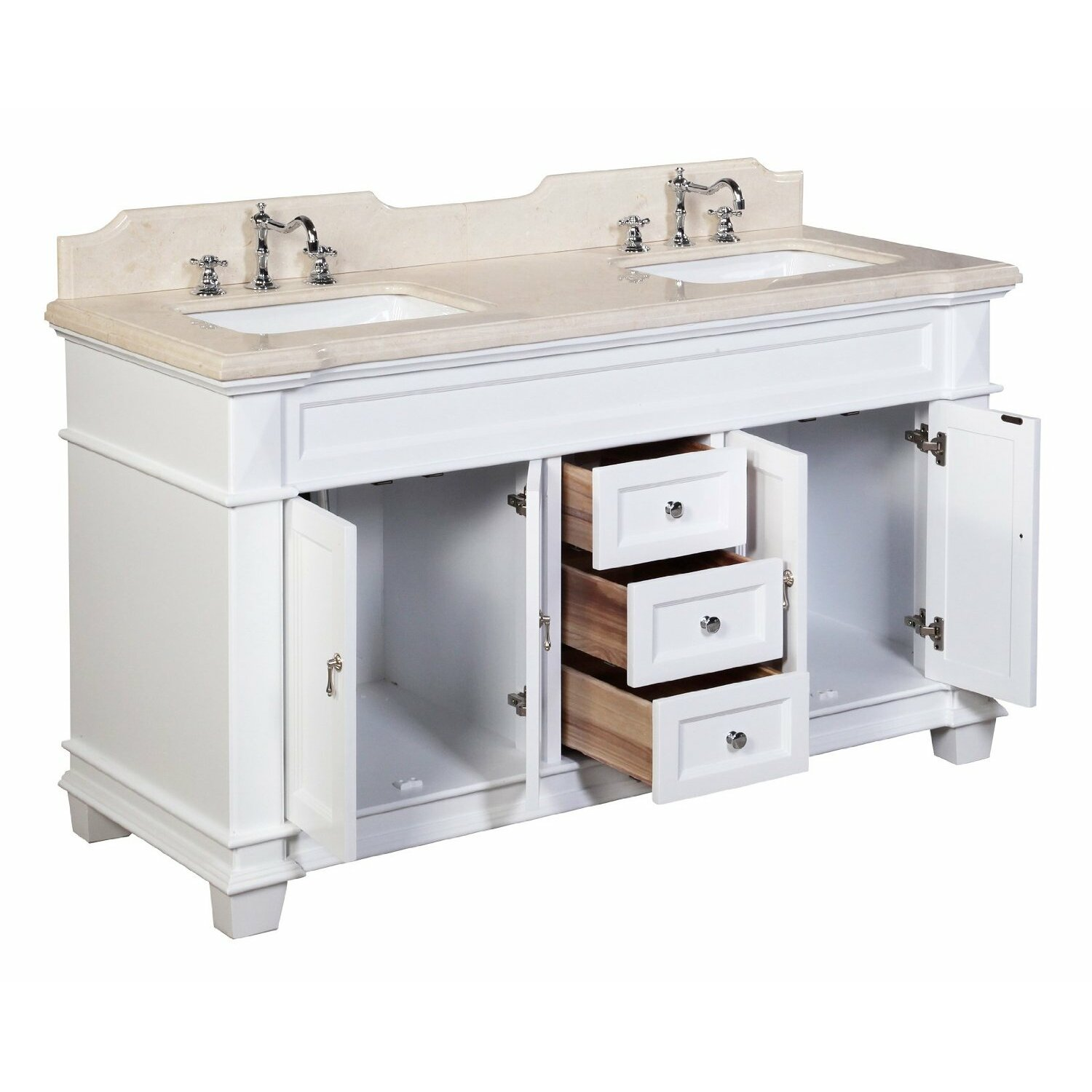 Kbc elizabeth 60 double bathroom vanity set reviews wayfair Bathroom sink and vanity sets