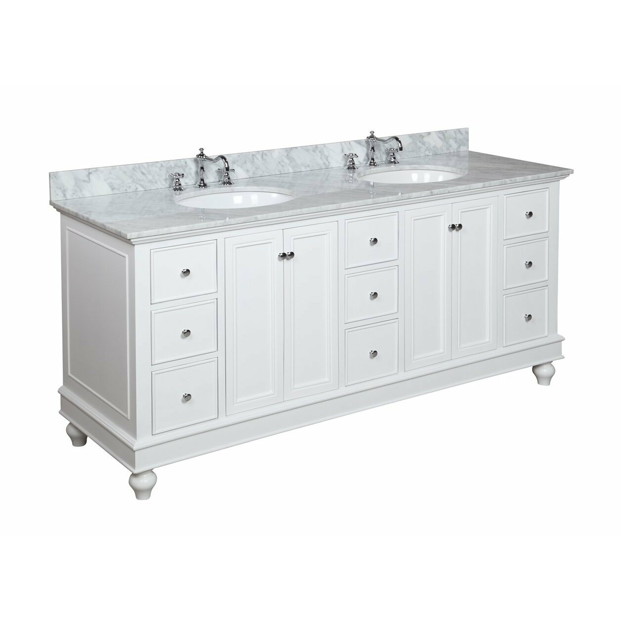 Kbc bella 72 double bathroom vanity set reviews wayfair for Bath and vanity set