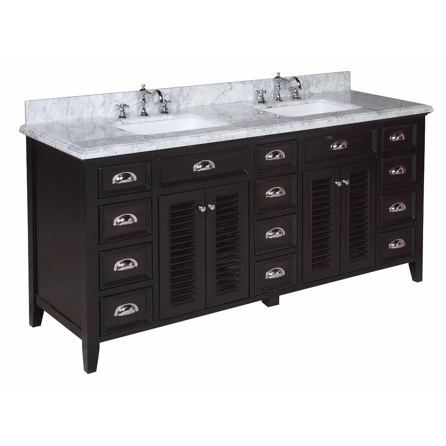 Kbc savannah 72 double bathroom vanity set reviews for Bath and vanity set