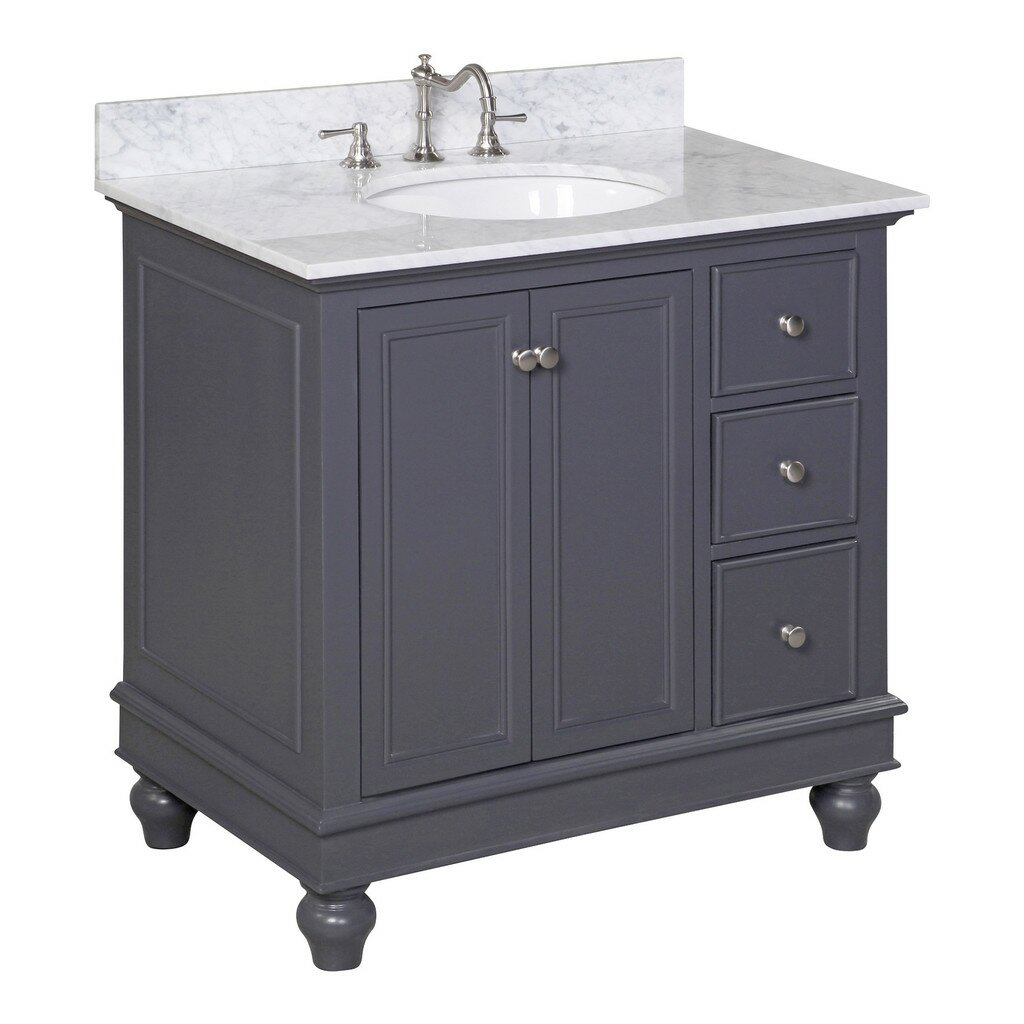 Kbc bella 36 single bathroom vanity set reviews wayfair for Bath and vanity set