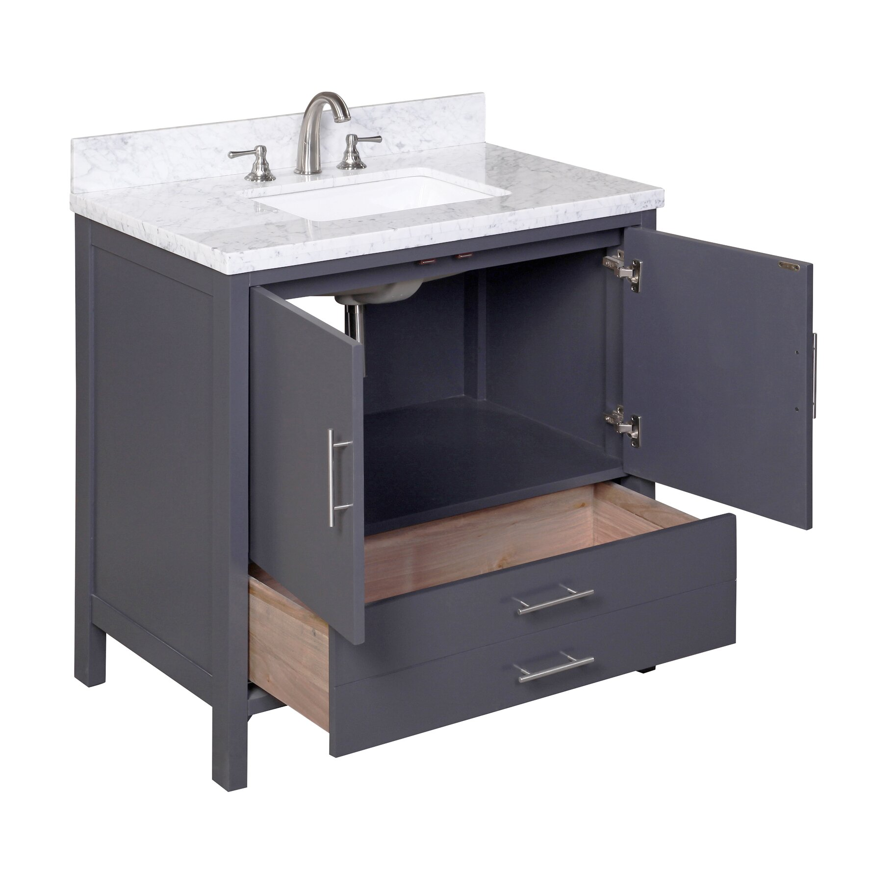 Kbc california 36 single bathroom vanity set reviews for Bath and vanity set
