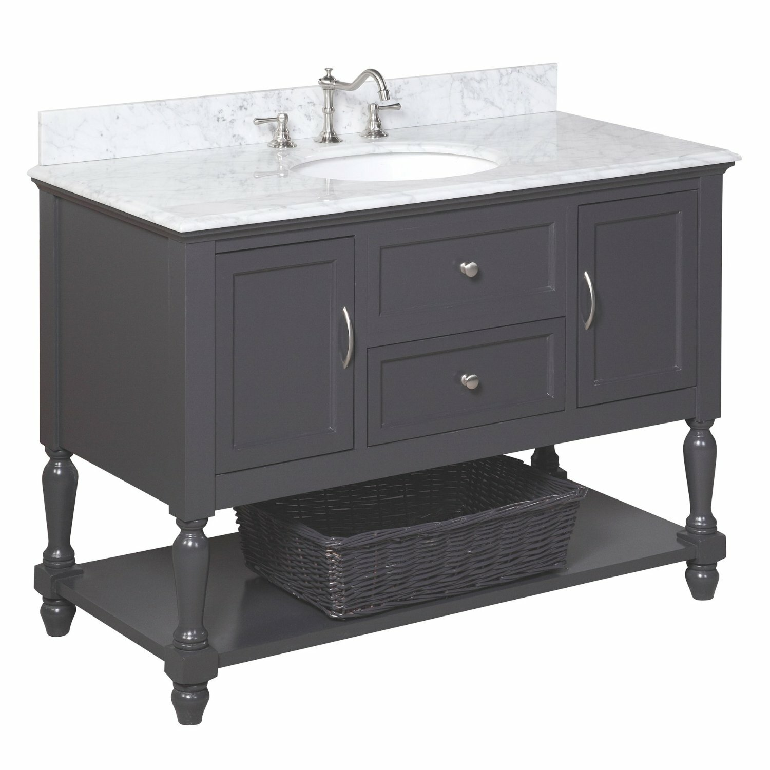Kbc beverly 48 single bathroom vanity set reviews wayfair for Bath and vanity set