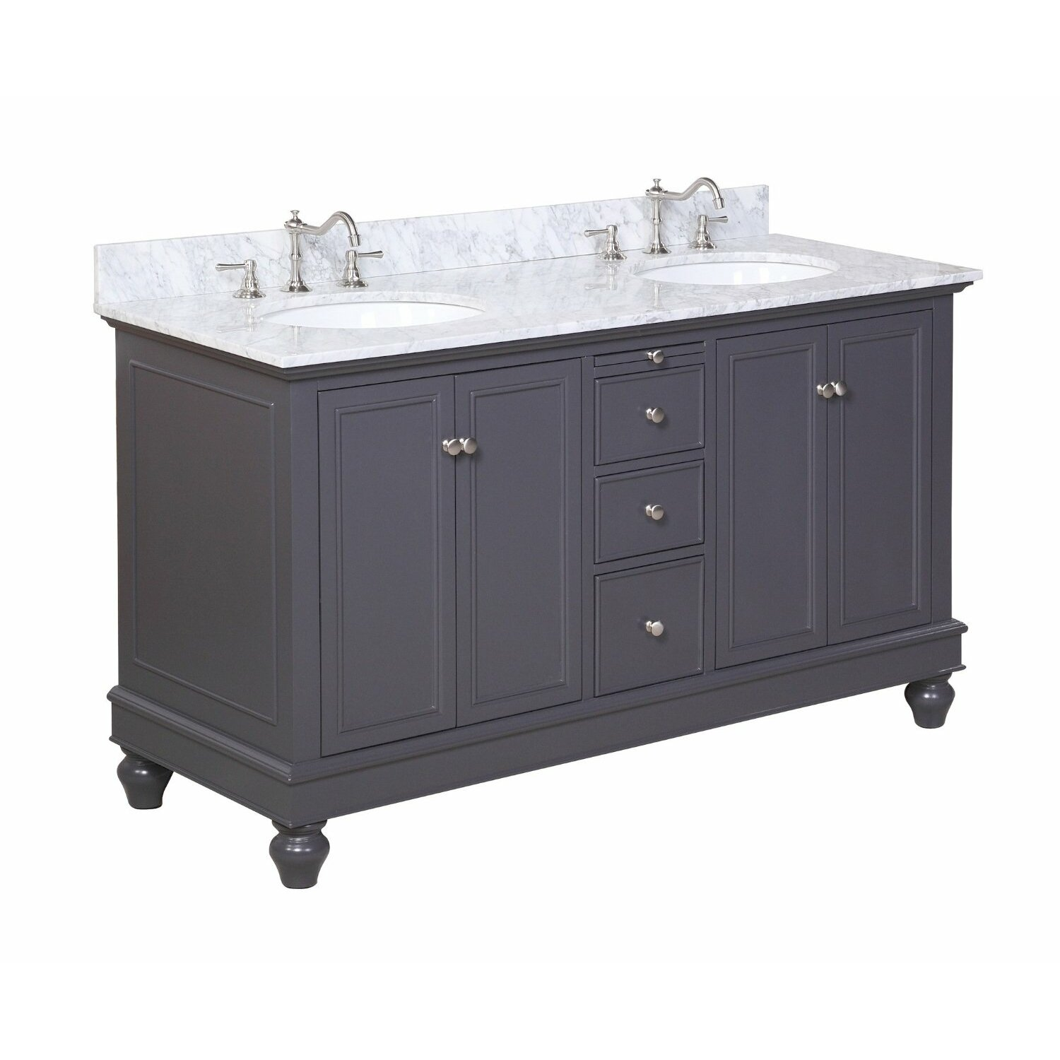 Kbc bella 60 double bathroom vanity set reviews wayfair for Bath and vanity set