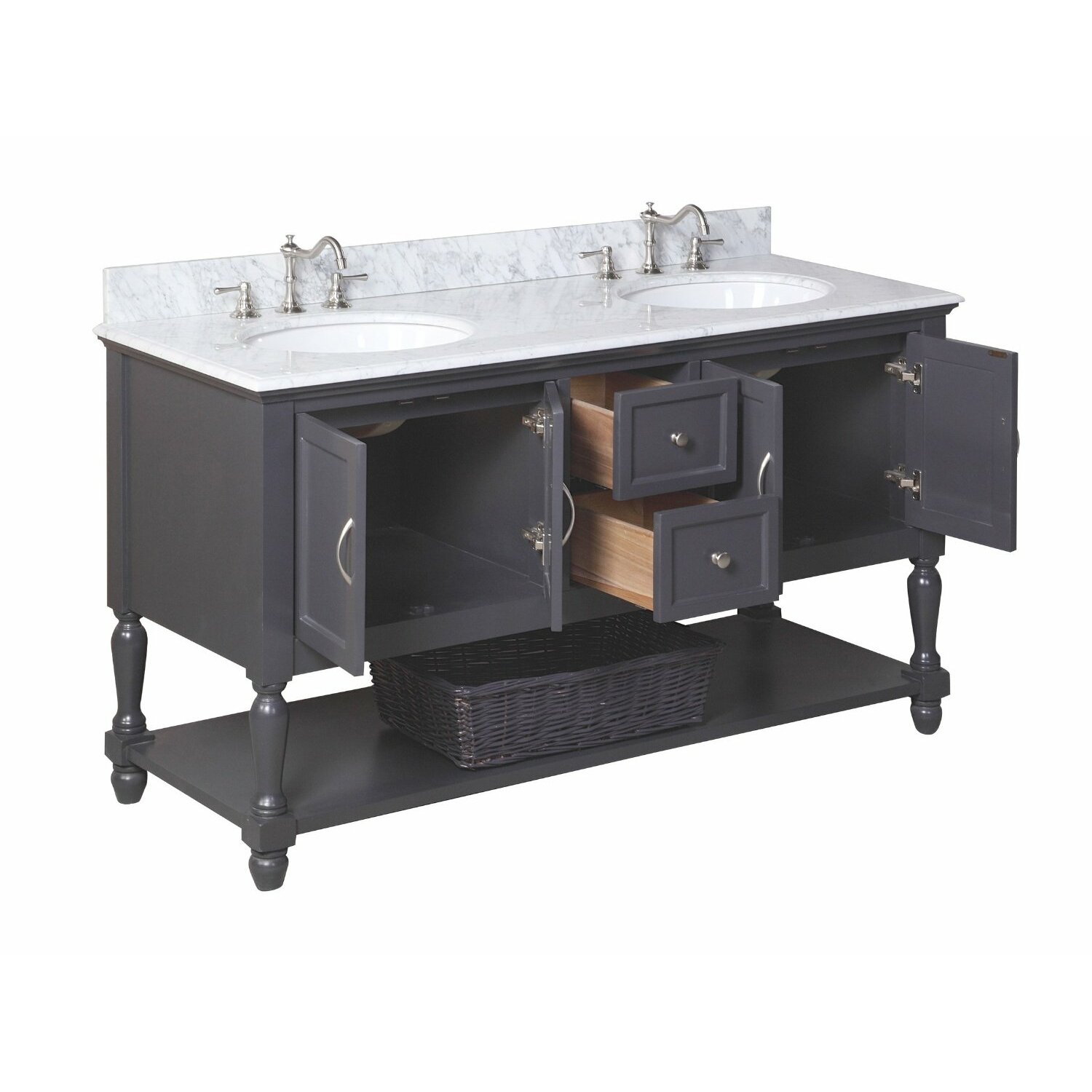 Kbc beverly 60 double bathroom vanity set reviews wayfair for 60s kitchen set