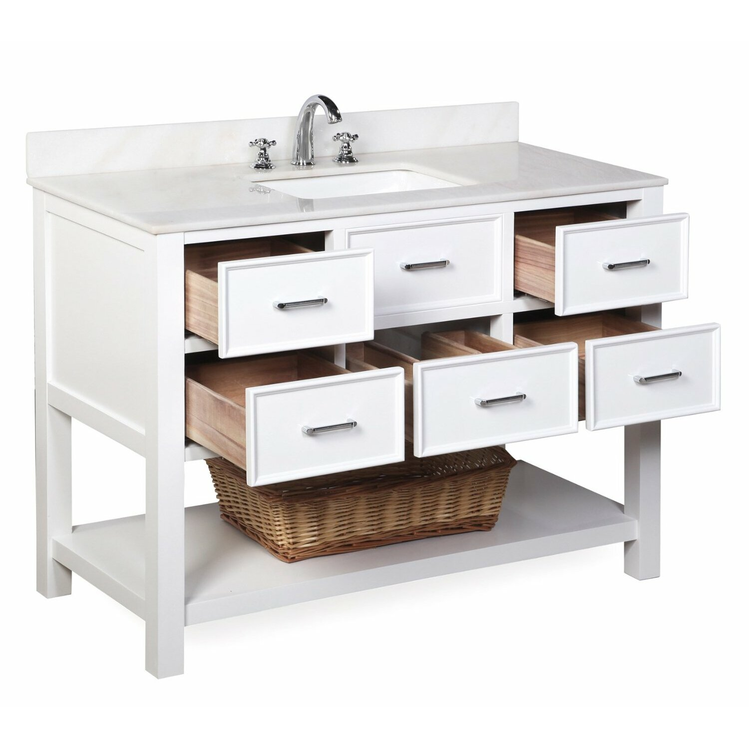 Kbc new hampshire 48 single bathroom vanity set reviews for Bath and vanity set