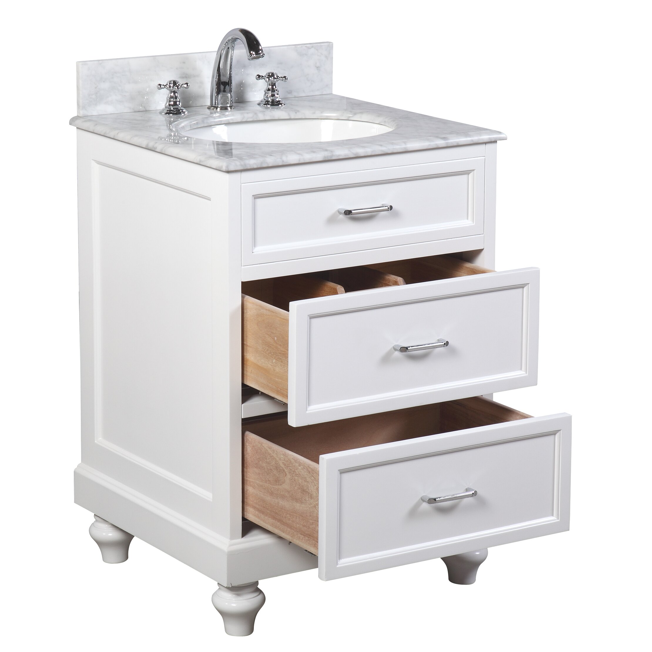 Kbc amelia 24 single bathroom vanity set reviews wayfair for Restroom vanity