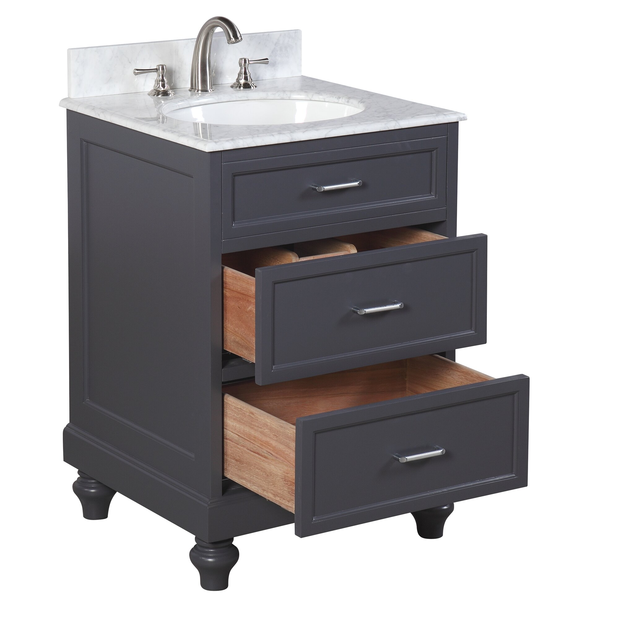 Kbc amelia 24 single bathroom vanity set reviews wayfair for Bath and vanity set