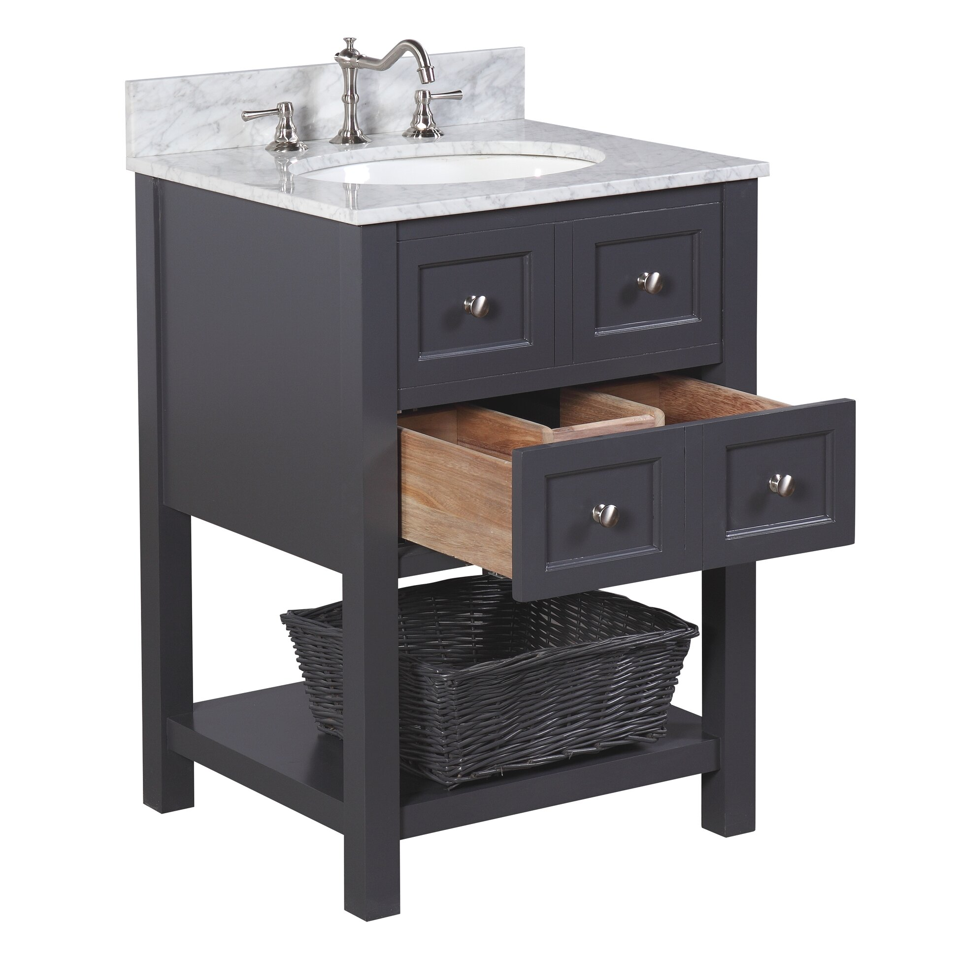 Kbc new yorker 24 single bathroom vanity set reviews for Bath and vanity set