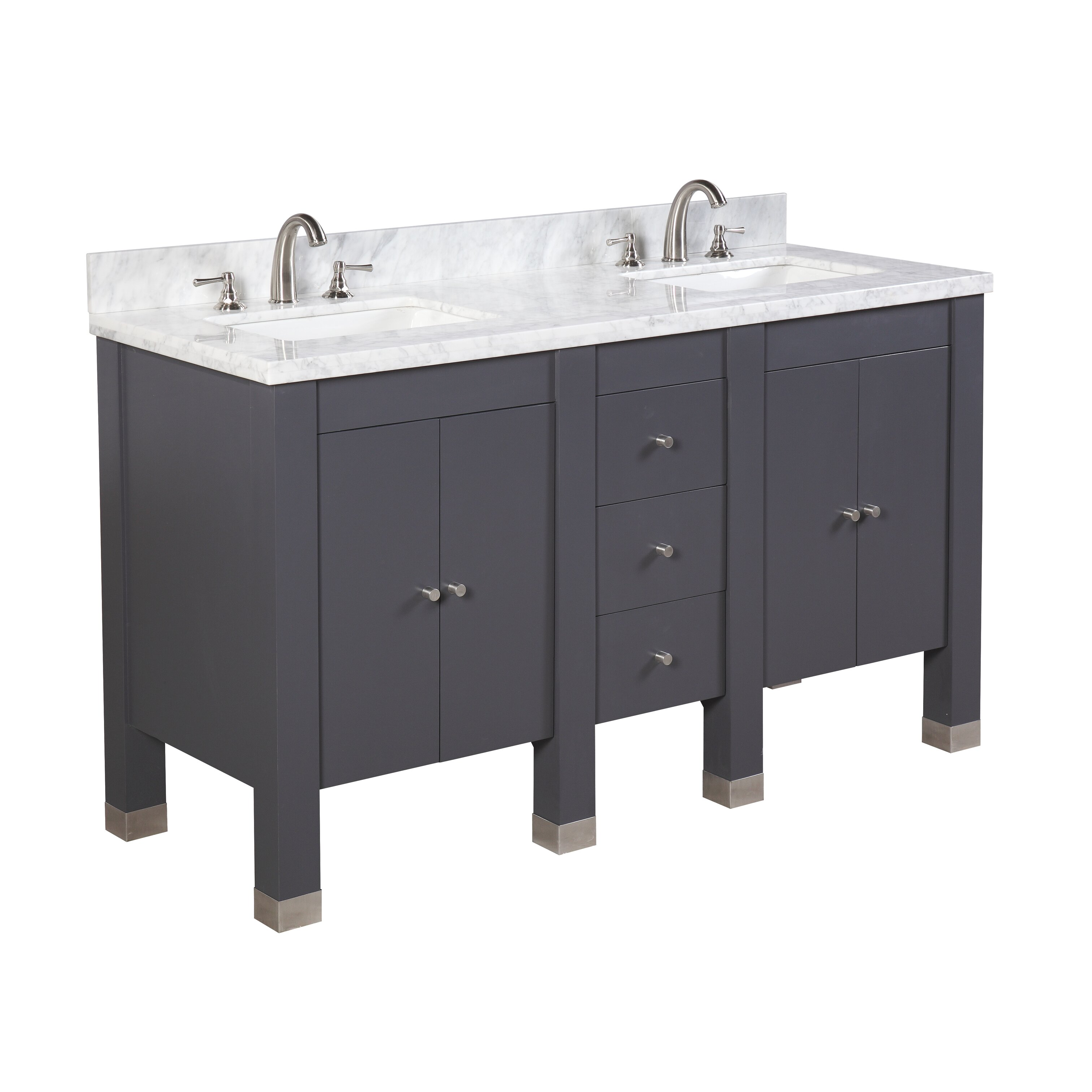 kbc riley 60 double bathroom vanity set reviews wayfair. Black Bedroom Furniture Sets. Home Design Ideas