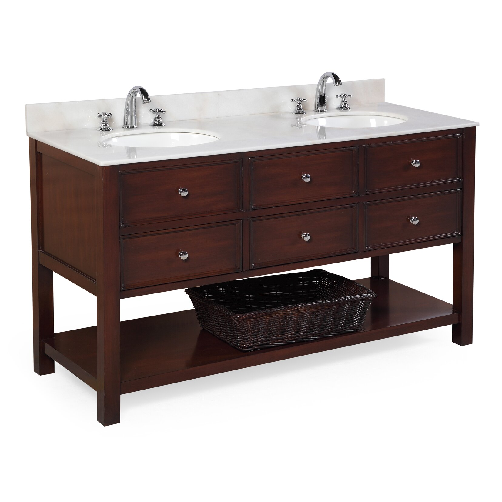 Kbc new yorker 60 double bathroom vanity set reviews for Bath and vanity set