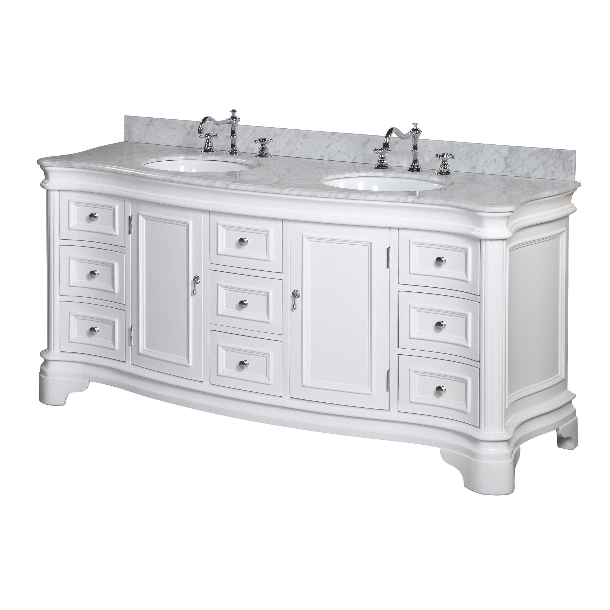 Kbc katherine 72 inch bathroom vanity set carrara white for Bathroom 72 inch vanity