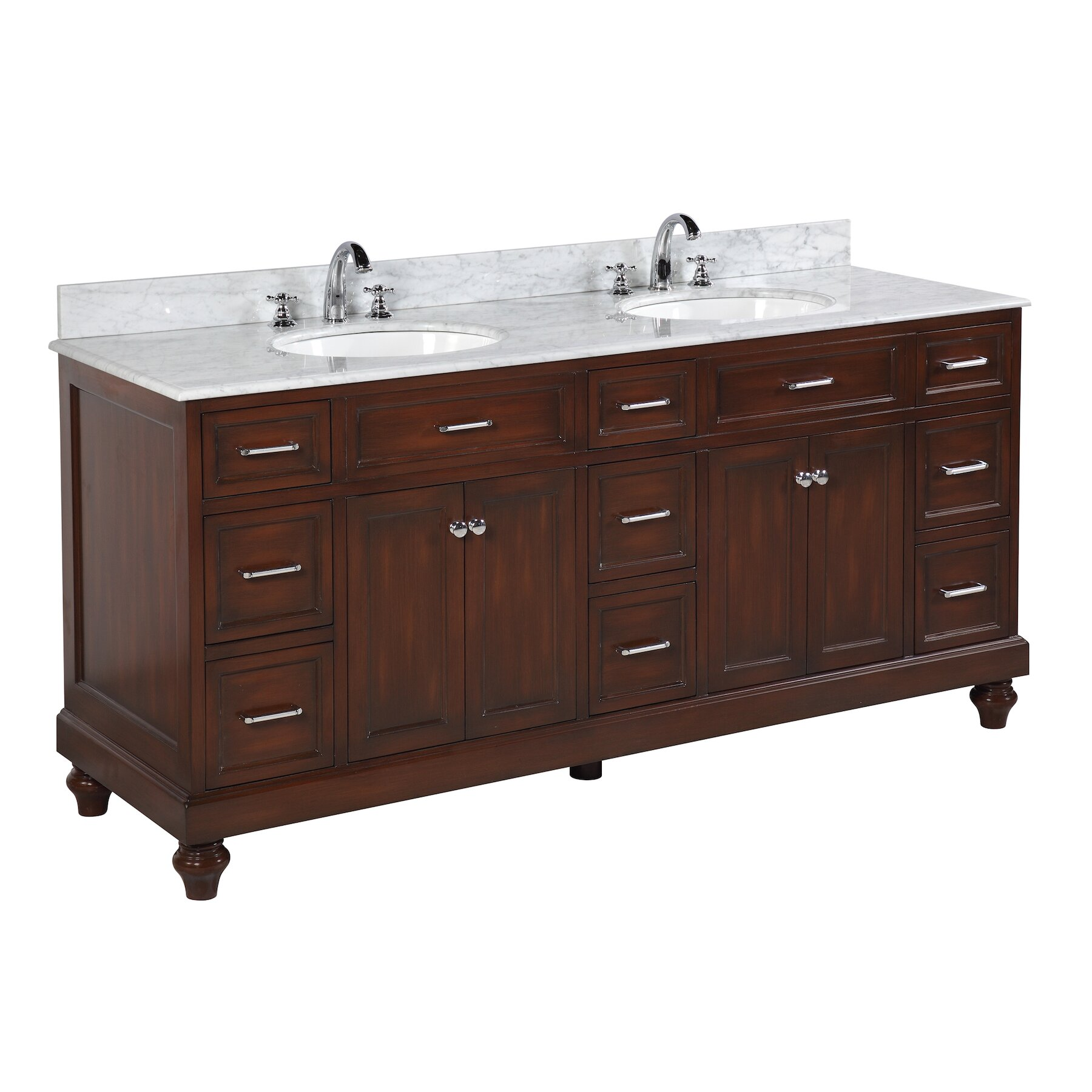 Kbc amelia 72 double bathroom vanity set reviews wayfair for Bath and vanity set