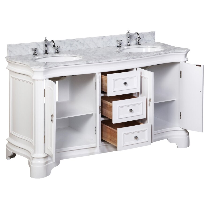 Kbc katherine 60 double bathroom vanity set reviews for Bath and vanity set
