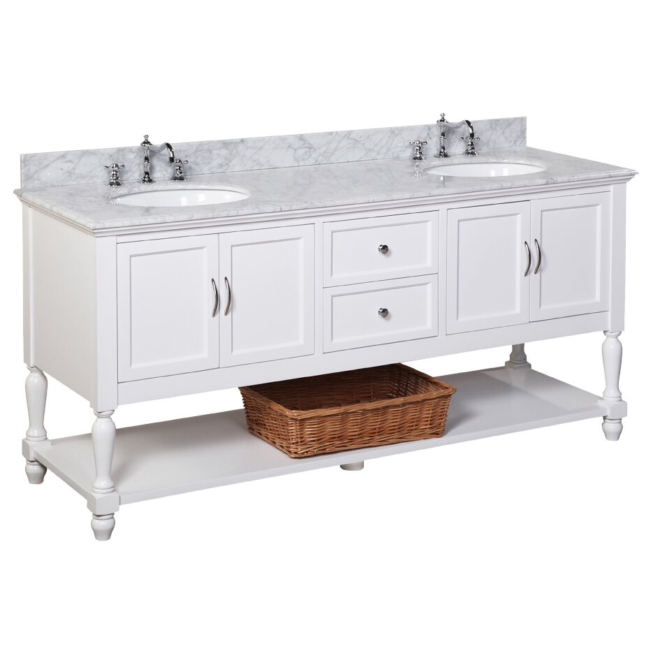 Kbc beverly 72 double bathroom vanity set reviews wayfair for Bath and vanity set