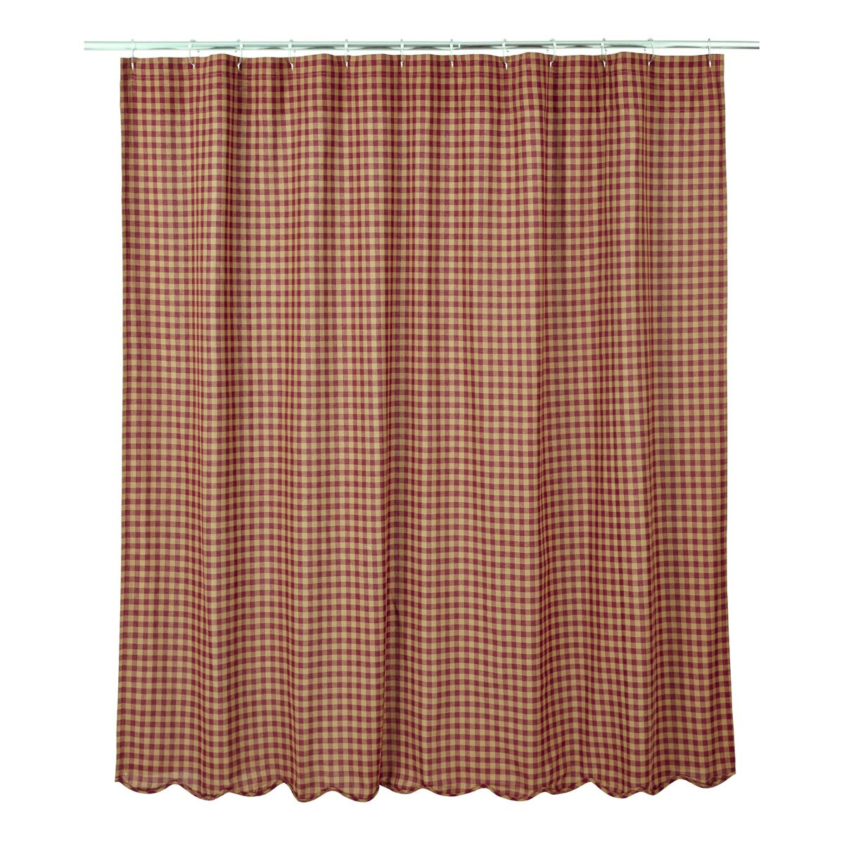 VHC Brands Check Scalloped Cotton Shower Curtain Amp Reviews