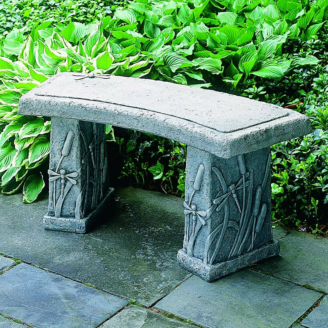 Campania international inc dragonfly curved cast stone garden bench reviews wayfair Stone garden bench