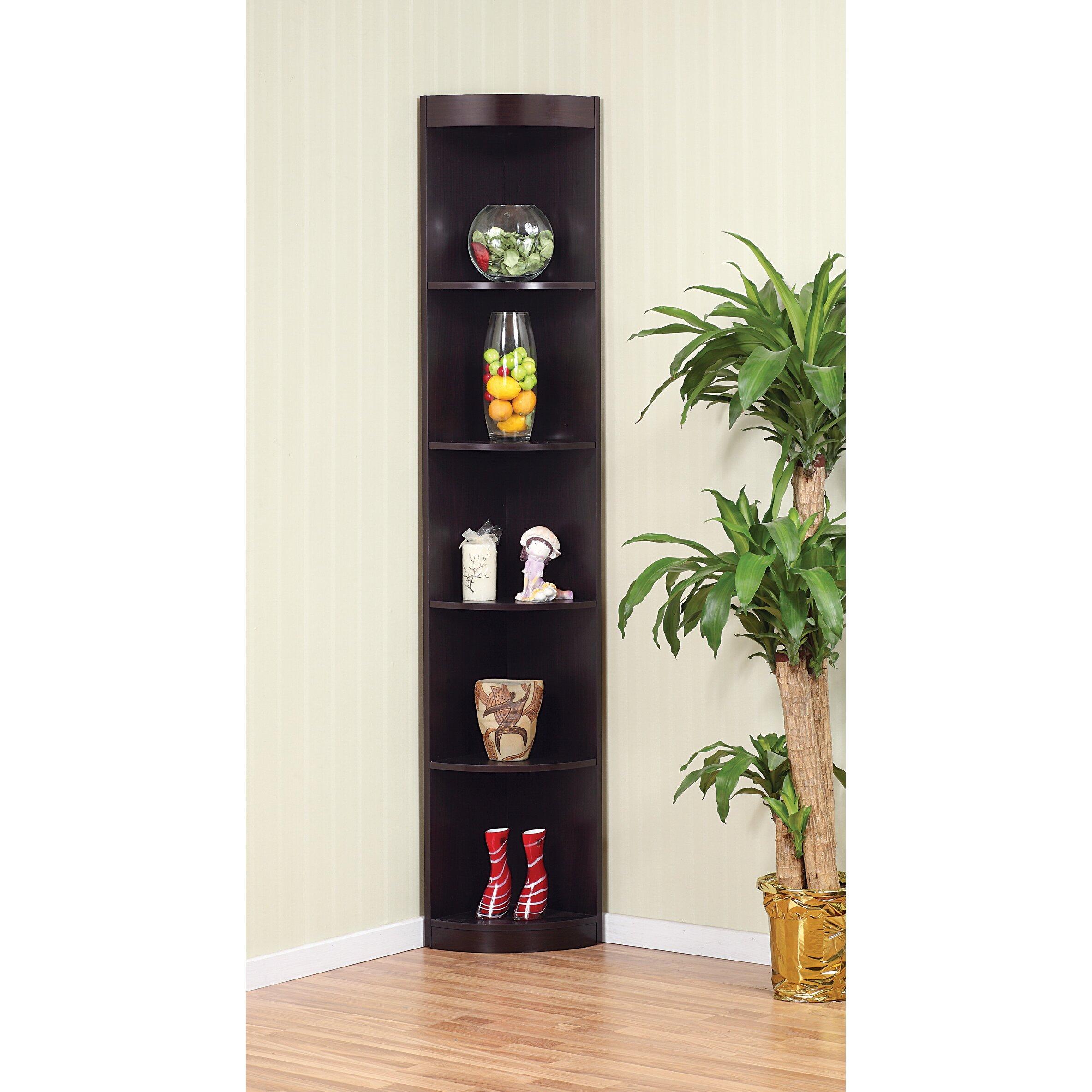 "Living Room Corner Shelf: Red Barrel Studio Fuhrmann 77"" Corner Unit Bookcase"