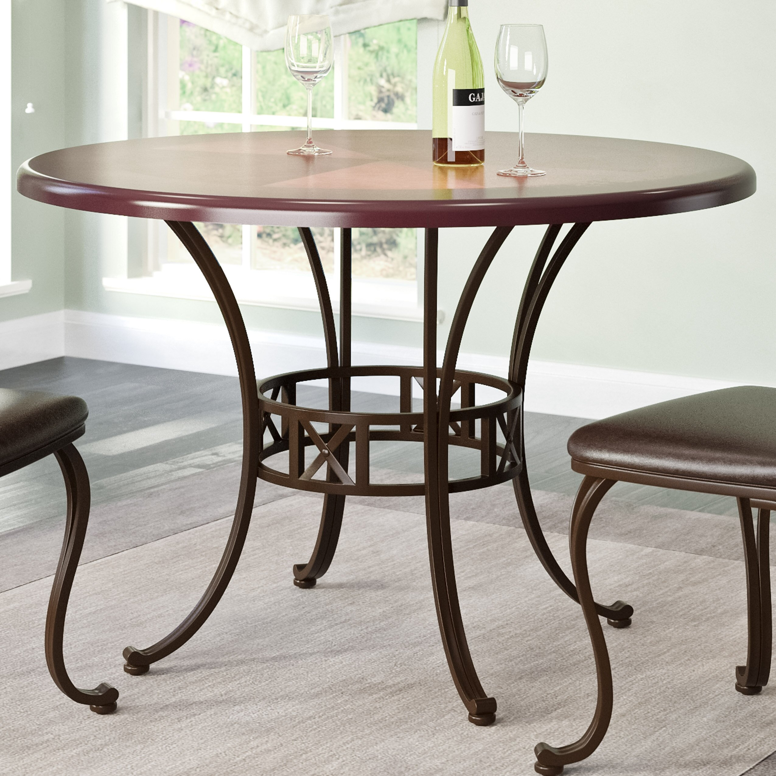 Red barrel studio gravity dining table reviews wayfair for Red dining table